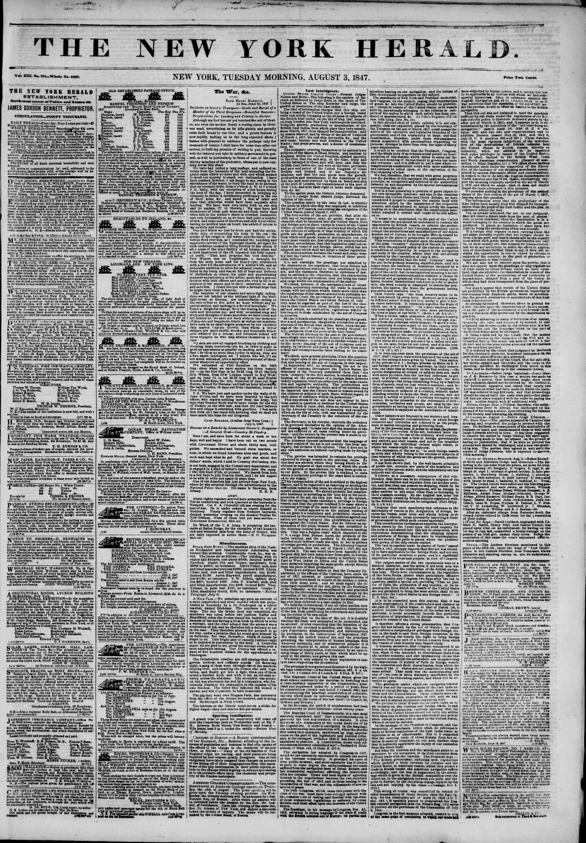 Newspaper of The New York Herald dated August 3, 1847 Page 1