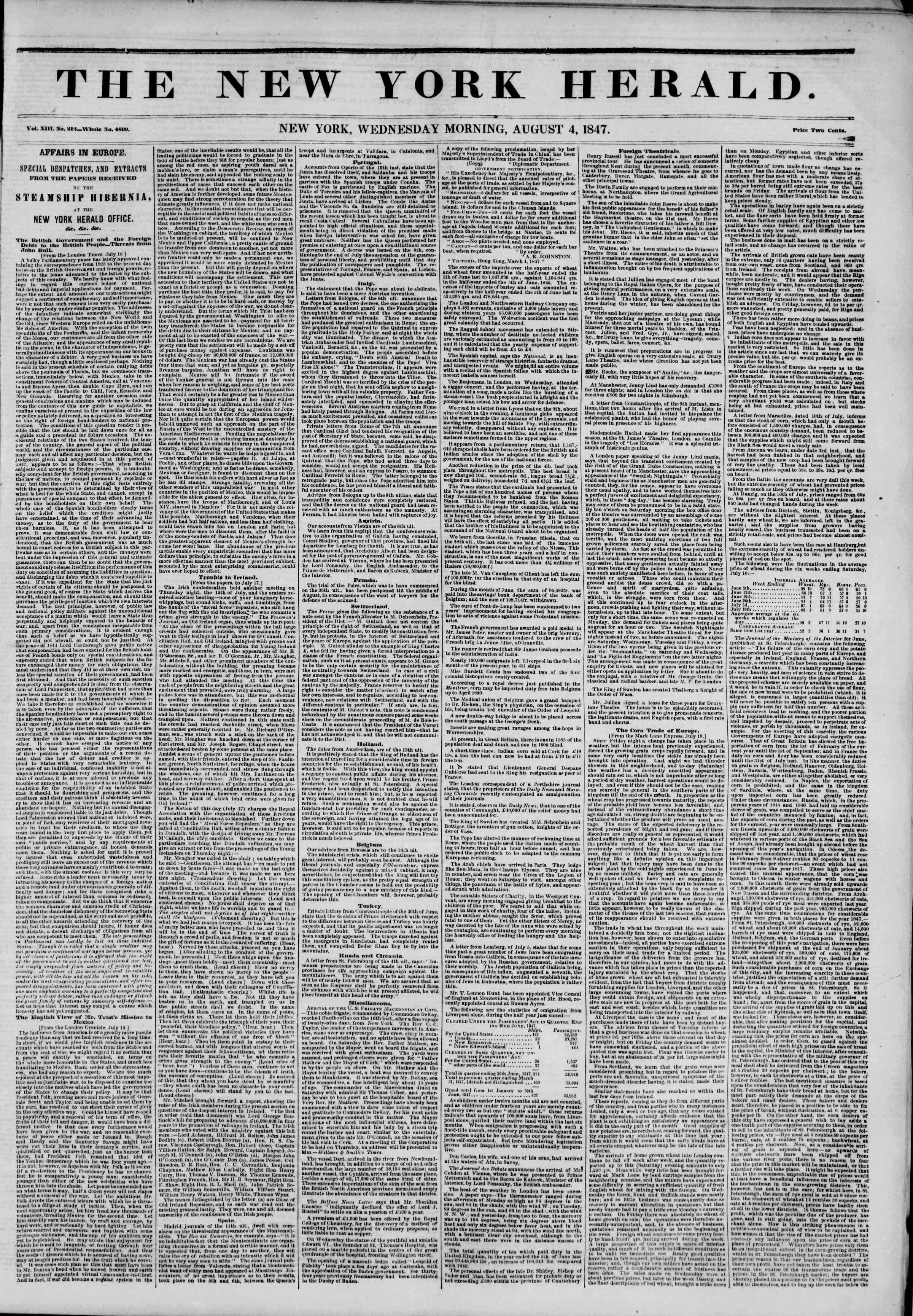 Newspaper of The New York Herald dated August 4, 1847 Page 1