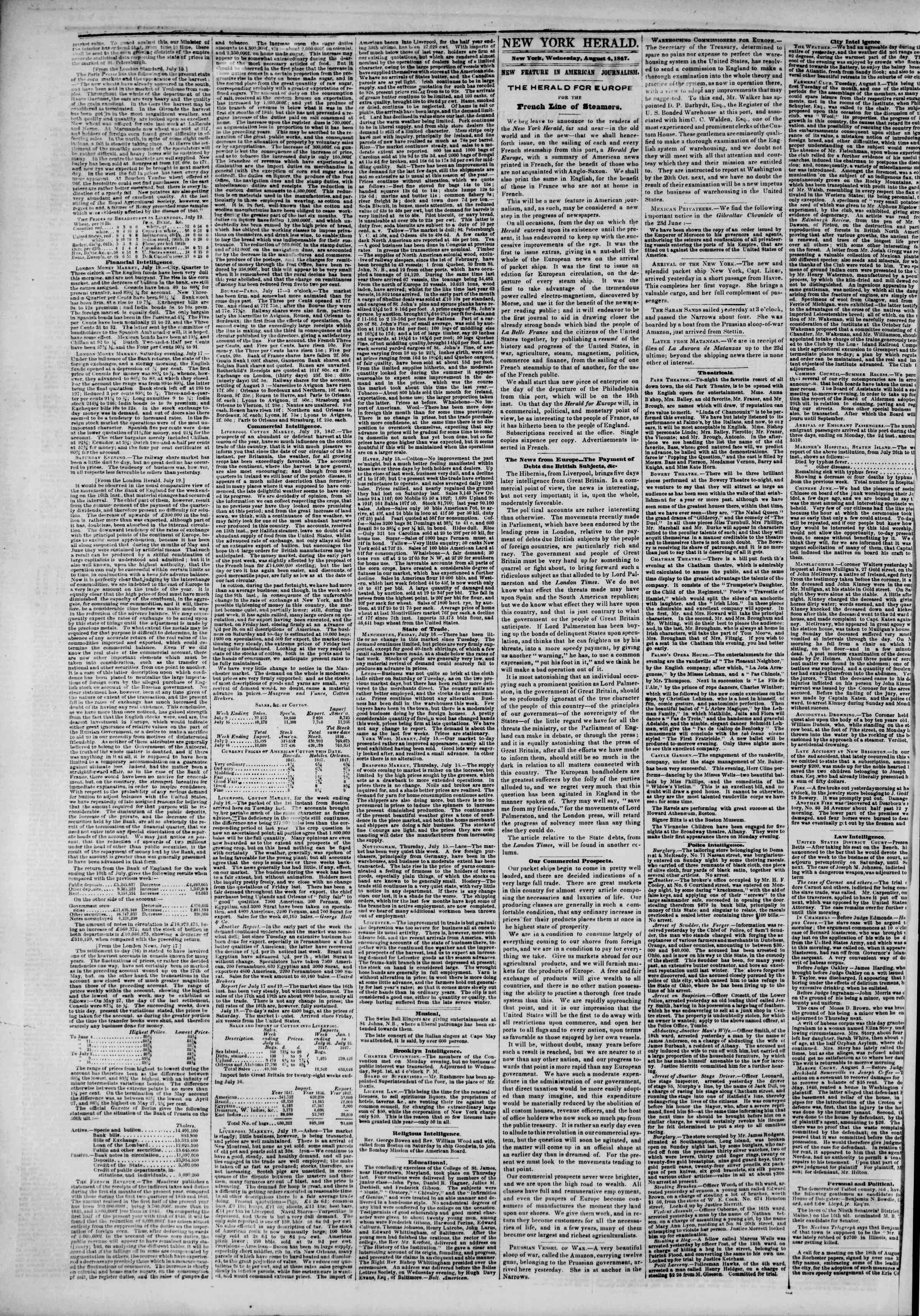 Newspaper of The New York Herald dated August 4, 1847 Page 2