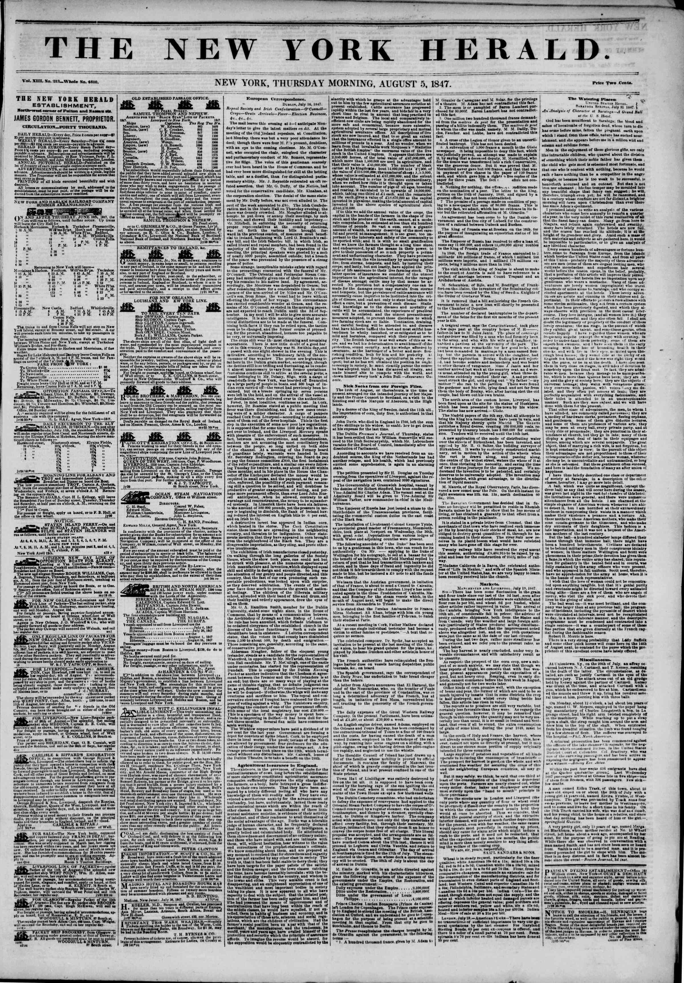 Newspaper of The New York Herald dated August 5, 1847 Page 1
