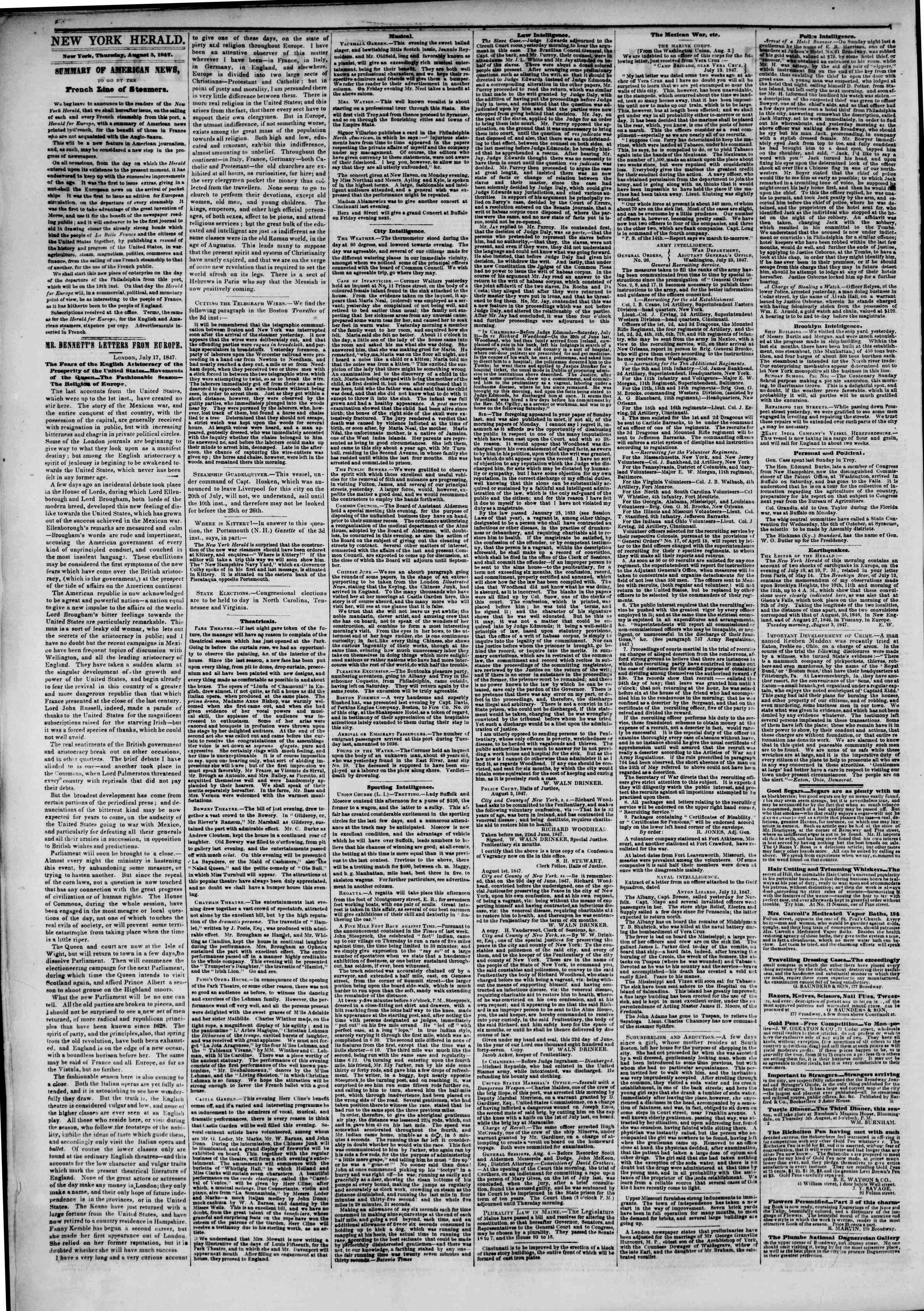 Newspaper of The New York Herald dated August 5, 1847 Page 2