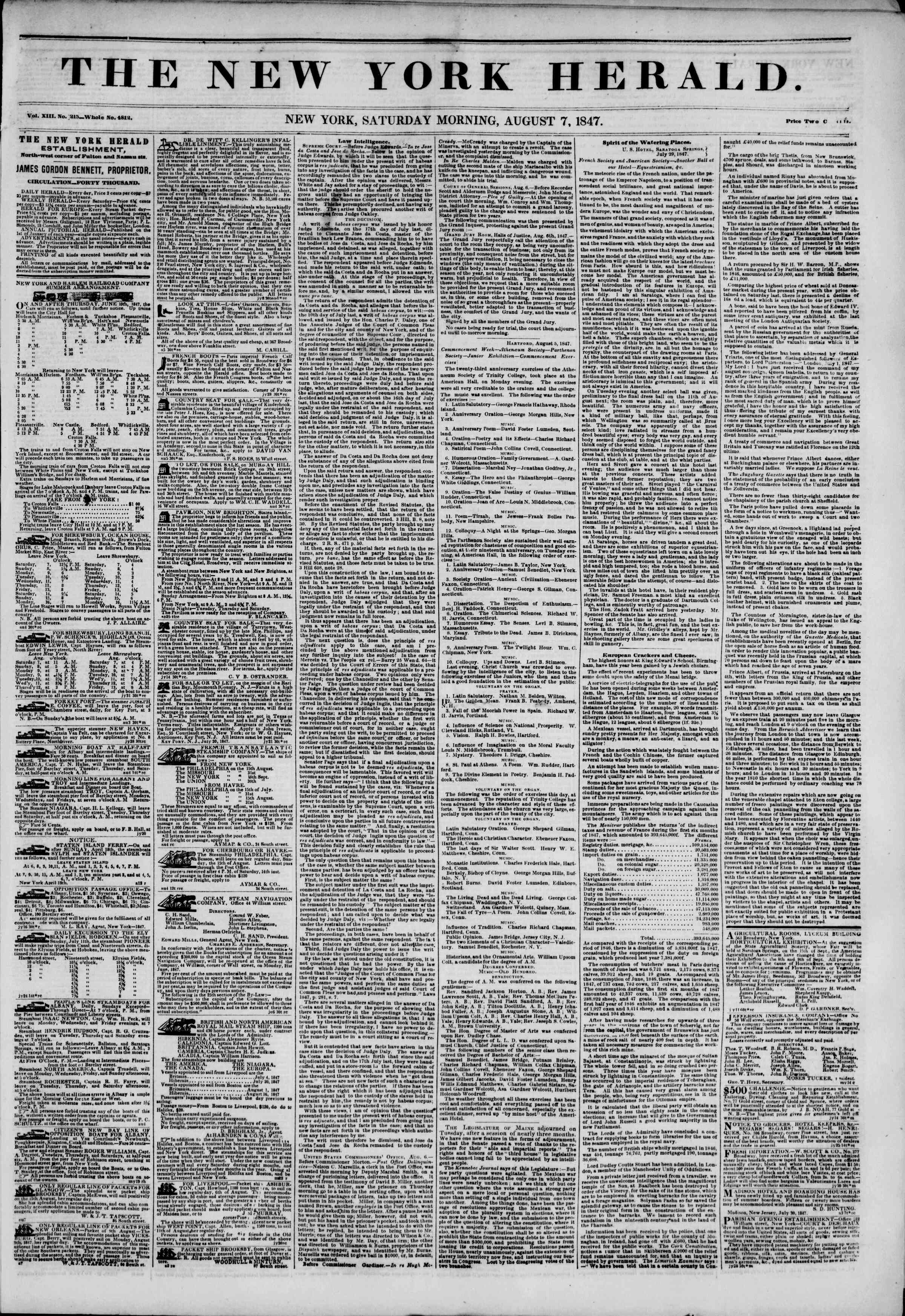 Newspaper of The New York Herald dated August 7, 1847 Page 1
