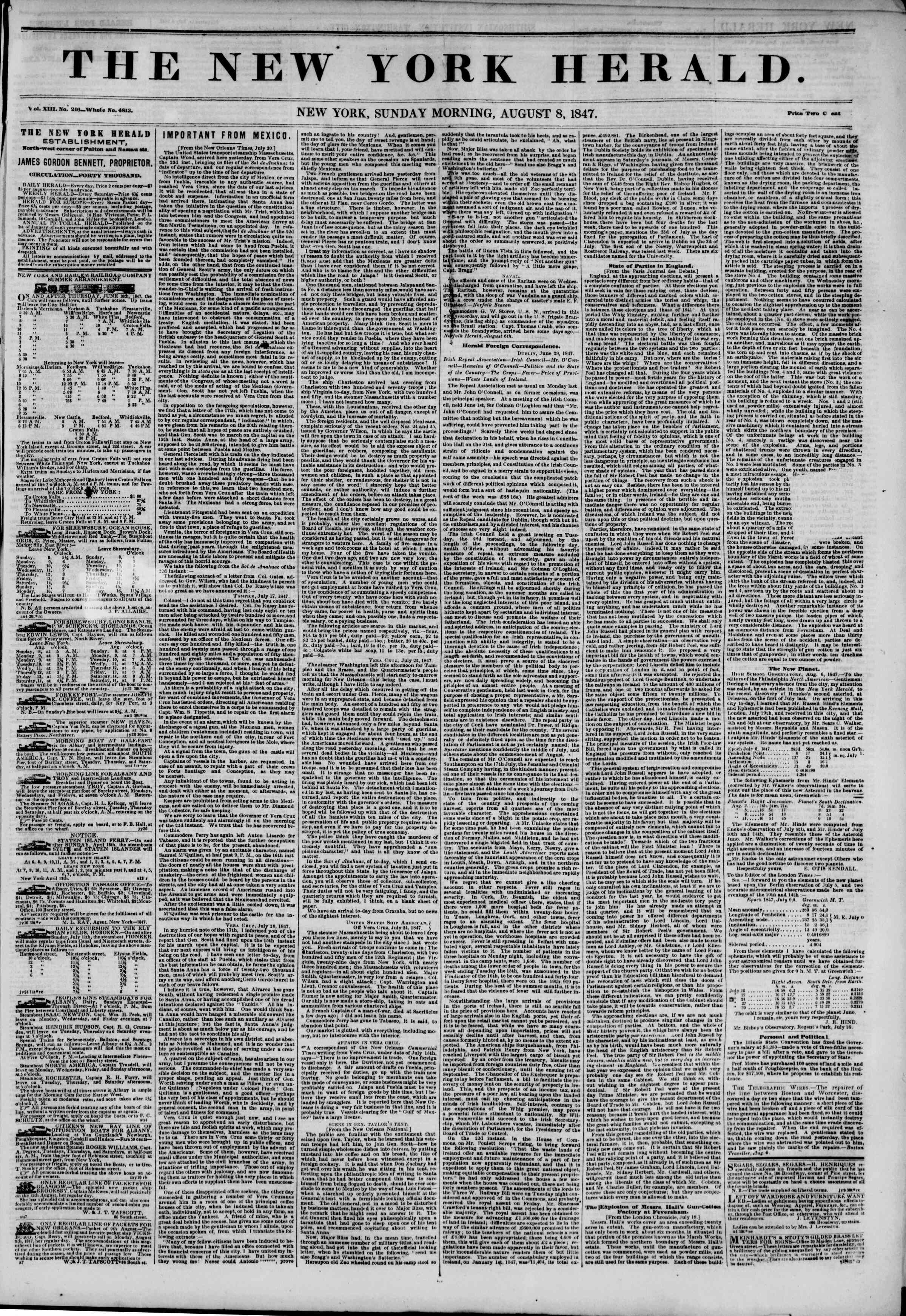Newspaper of The New York Herald dated August 8, 1847 Page 1