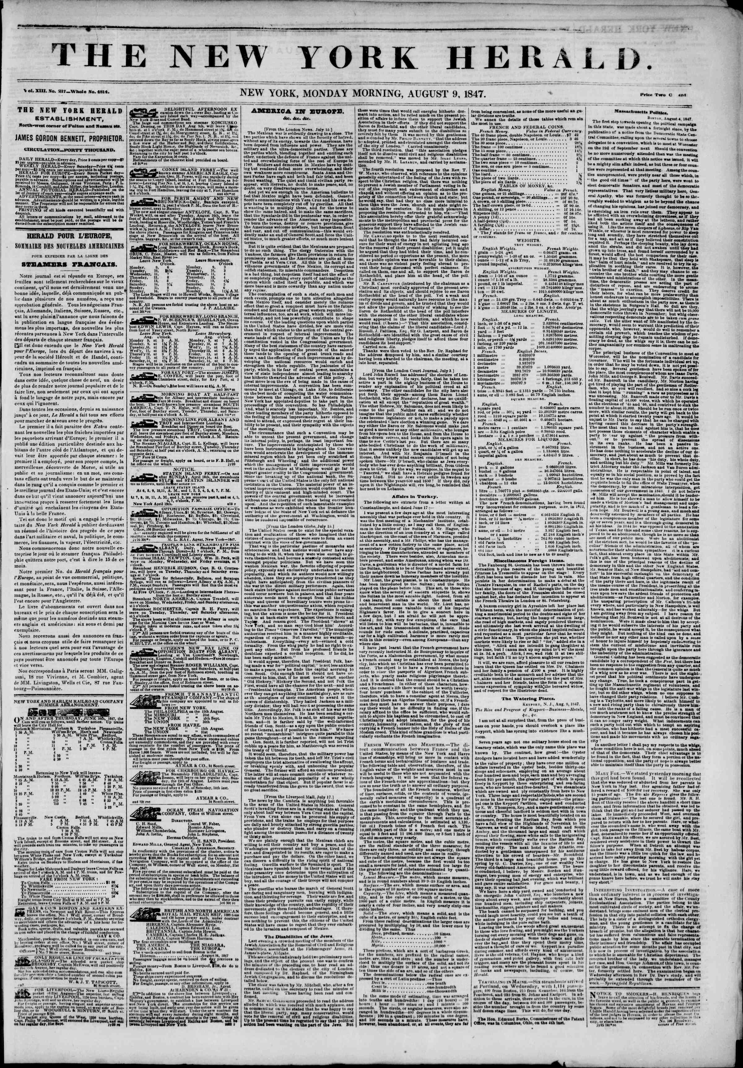 Newspaper of The New York Herald dated August 9, 1847 Page 1