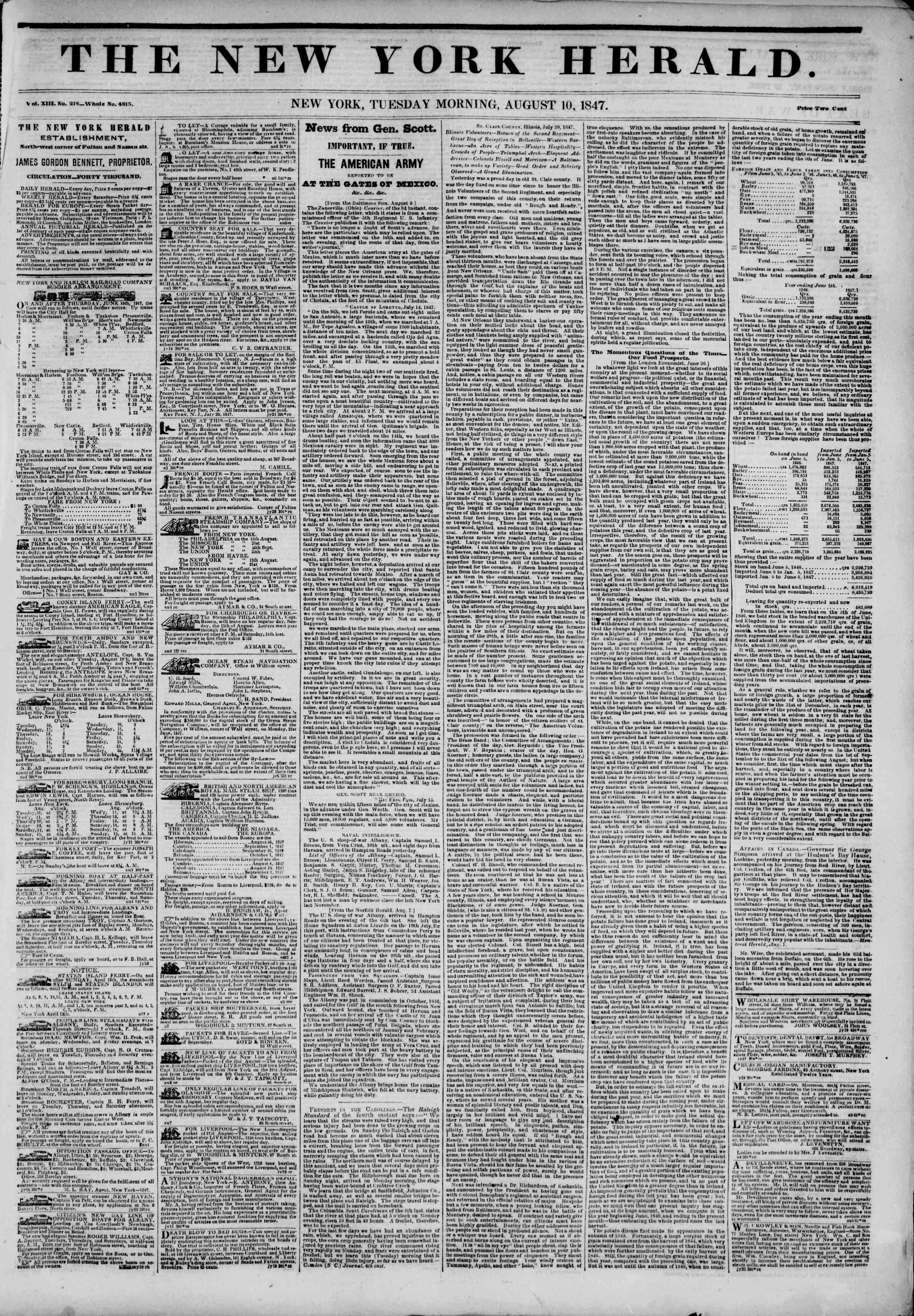 Newspaper of The New York Herald dated August 10, 1847 Page 1
