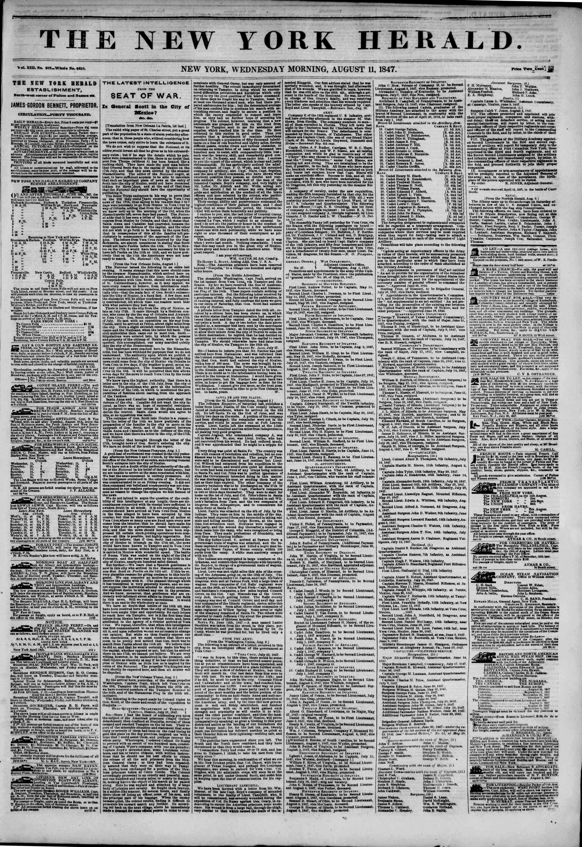 Newspaper of The New York Herald dated August 11, 1847 Page 1