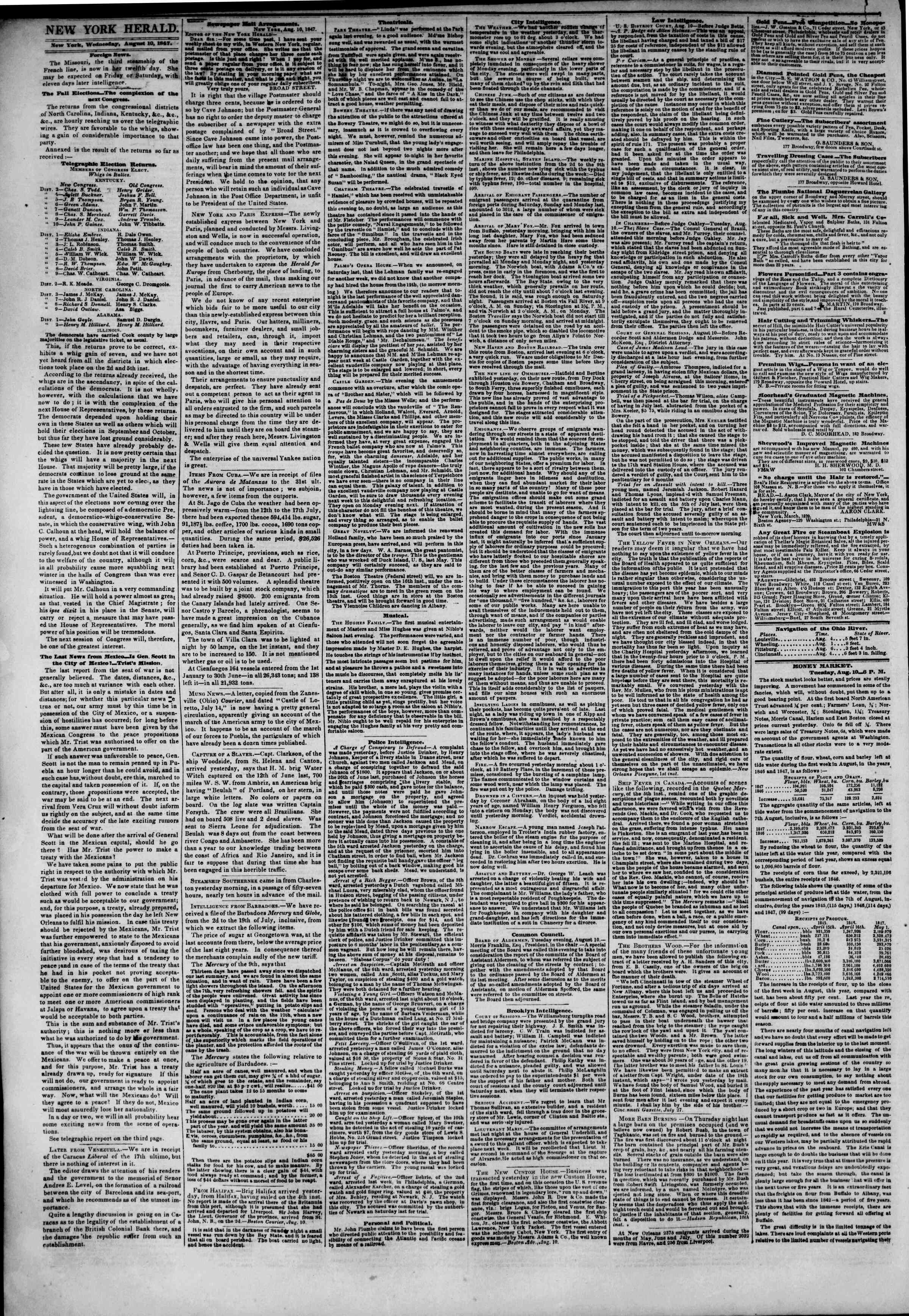 Newspaper of The New York Herald dated August 11, 1847 Page 2