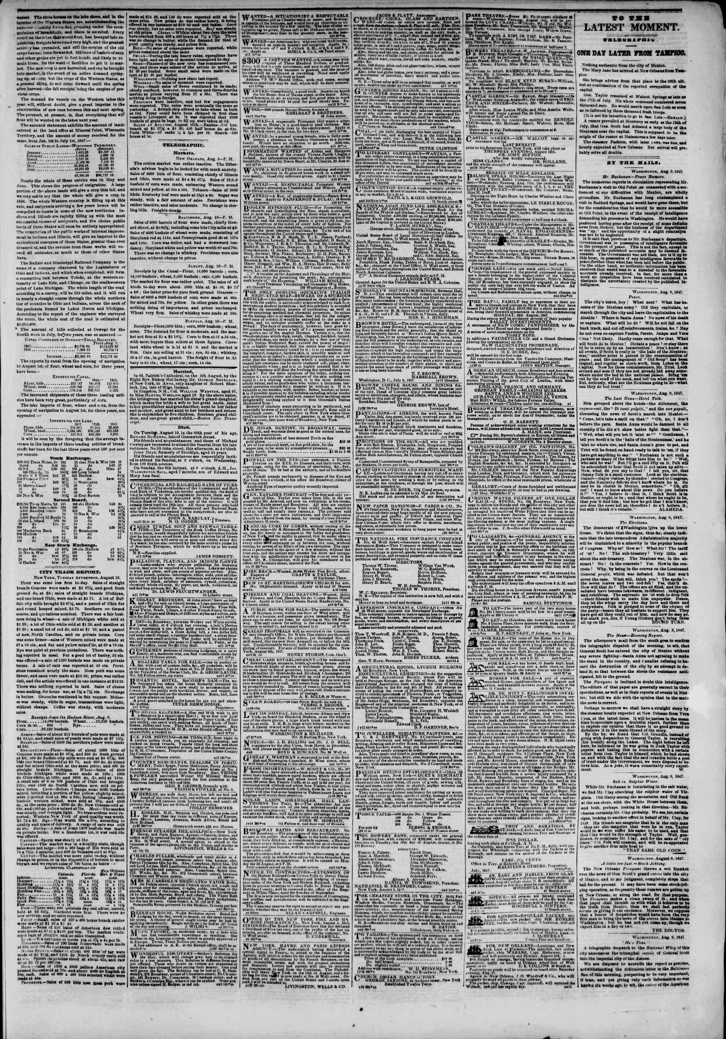 Newspaper of The New York Herald dated 11 Ağustos 1847 Page 3