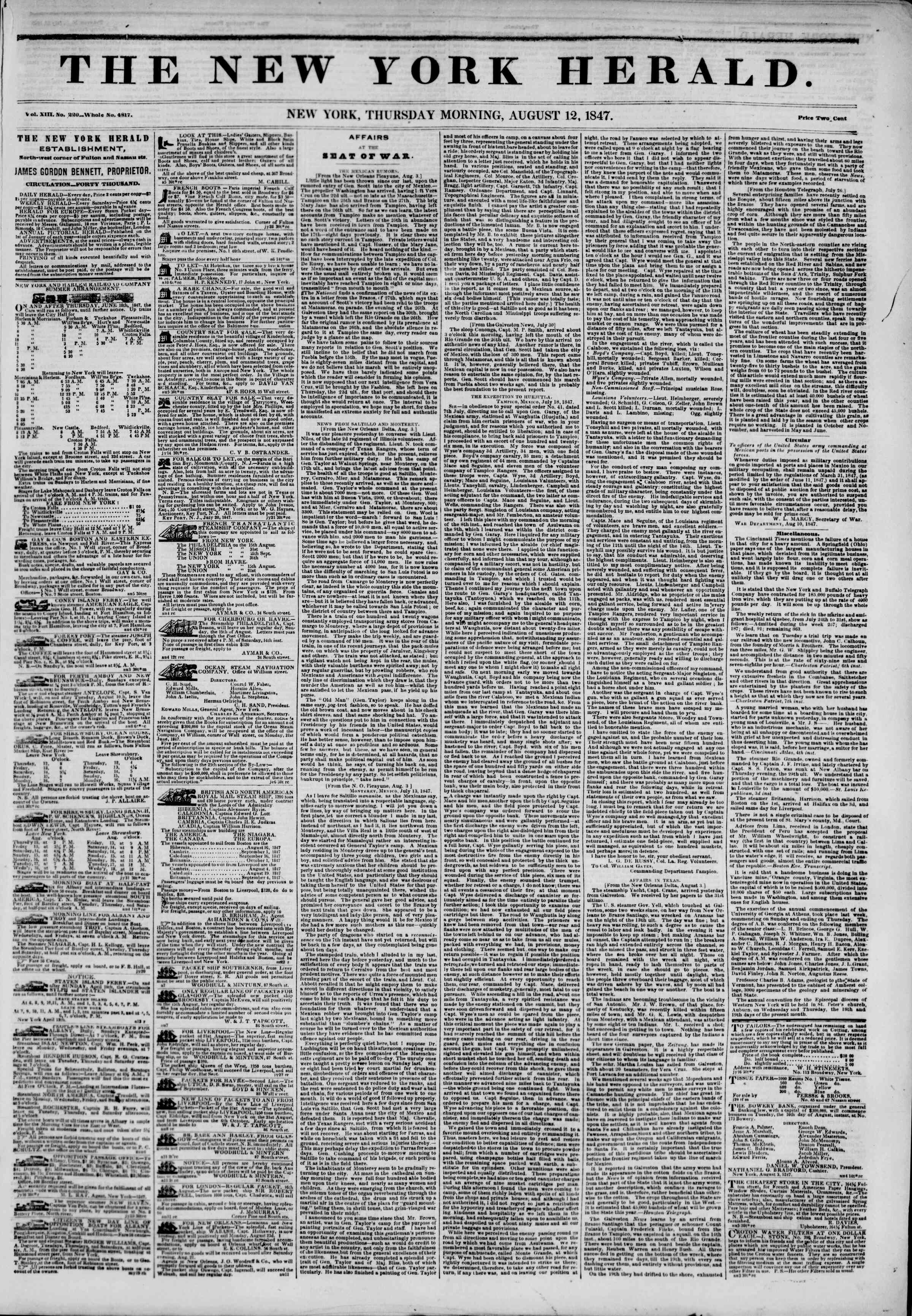 Newspaper of The New York Herald dated August 12, 1847 Page 1