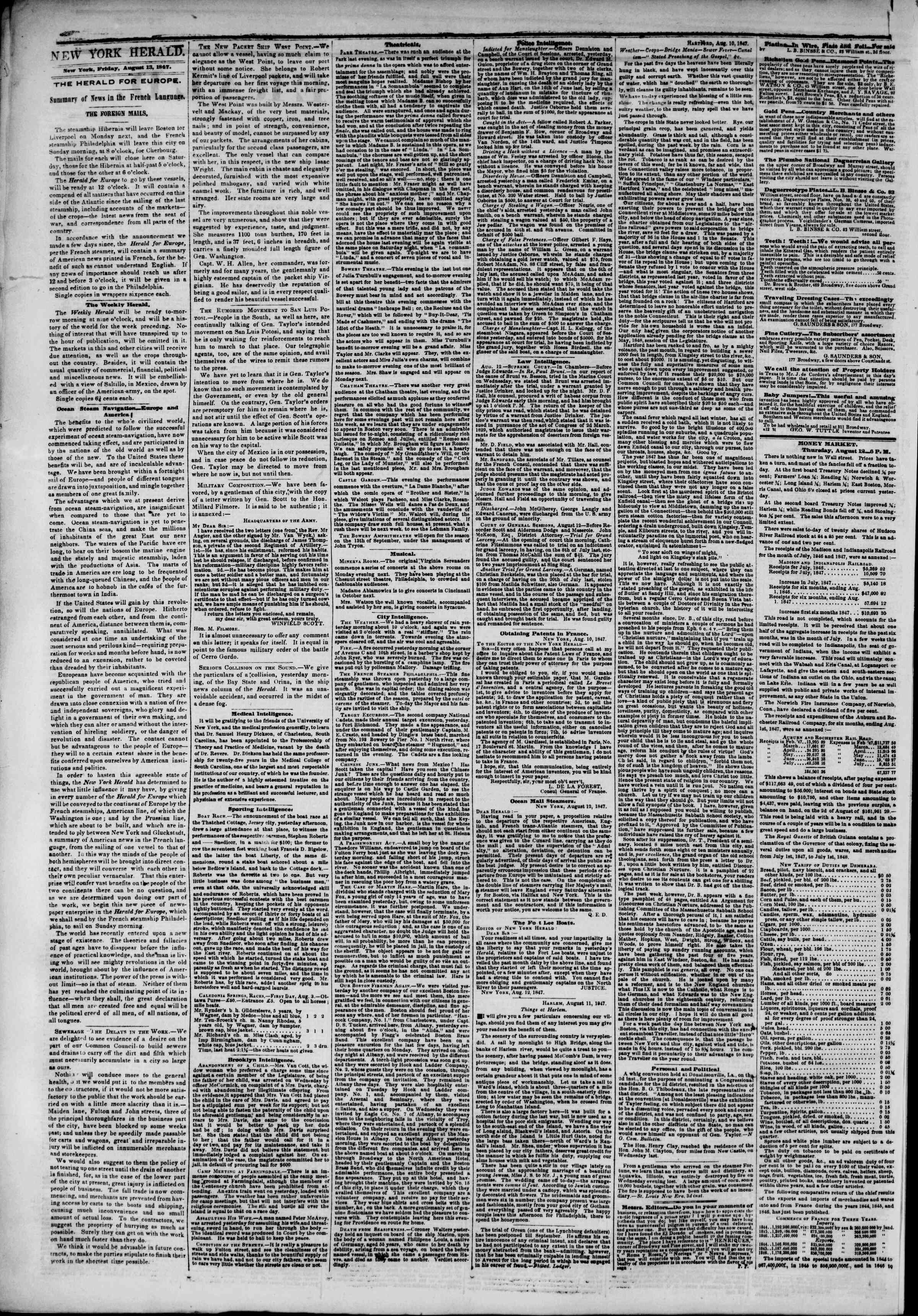 Newspaper of The New York Herald dated August 13, 1847 Page 2