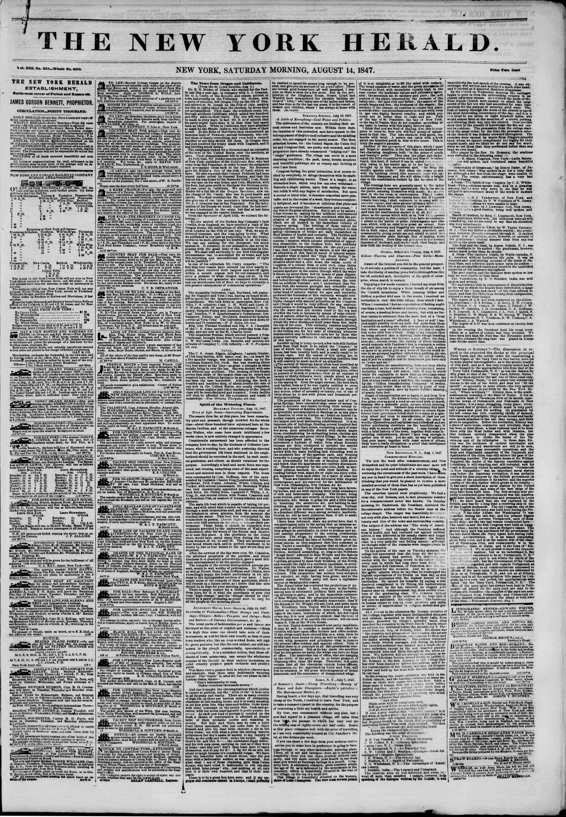 Newspaper of The New York Herald dated August 14, 1847 Page 1