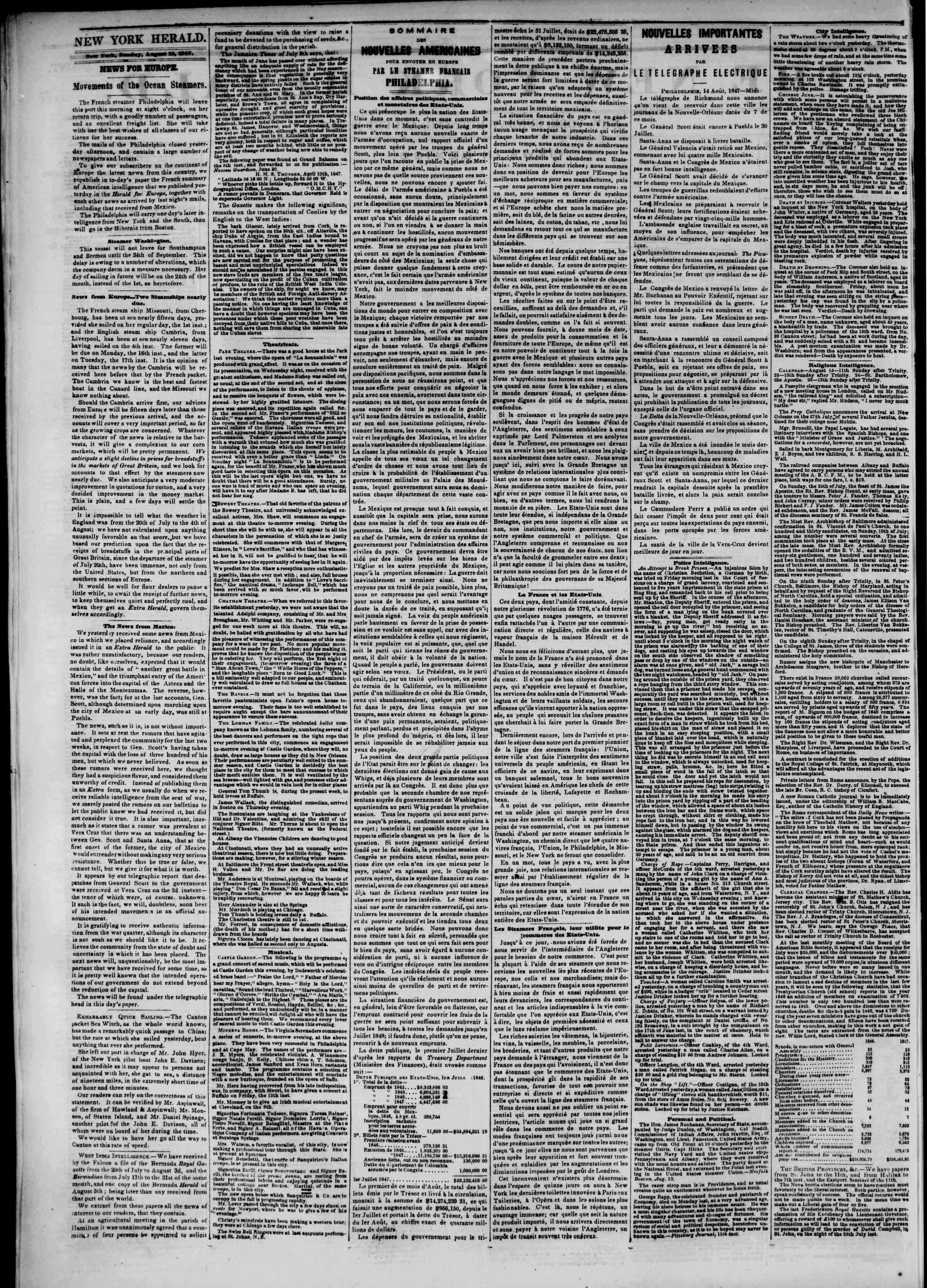 Newspaper of The New York Herald dated 15 Ağustos 1847 Page 2