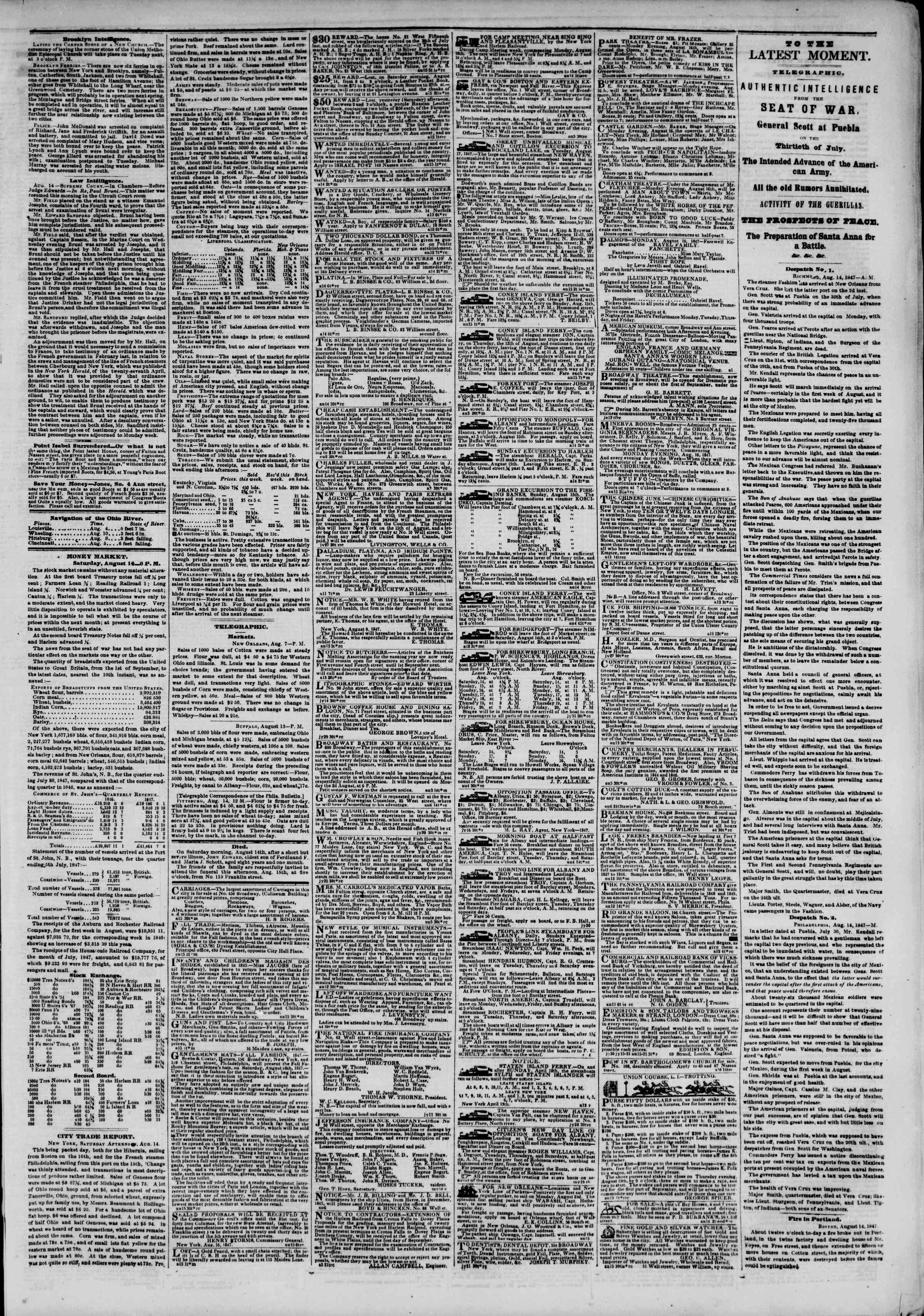 Newspaper of The New York Herald dated August 15, 1847 Page 3