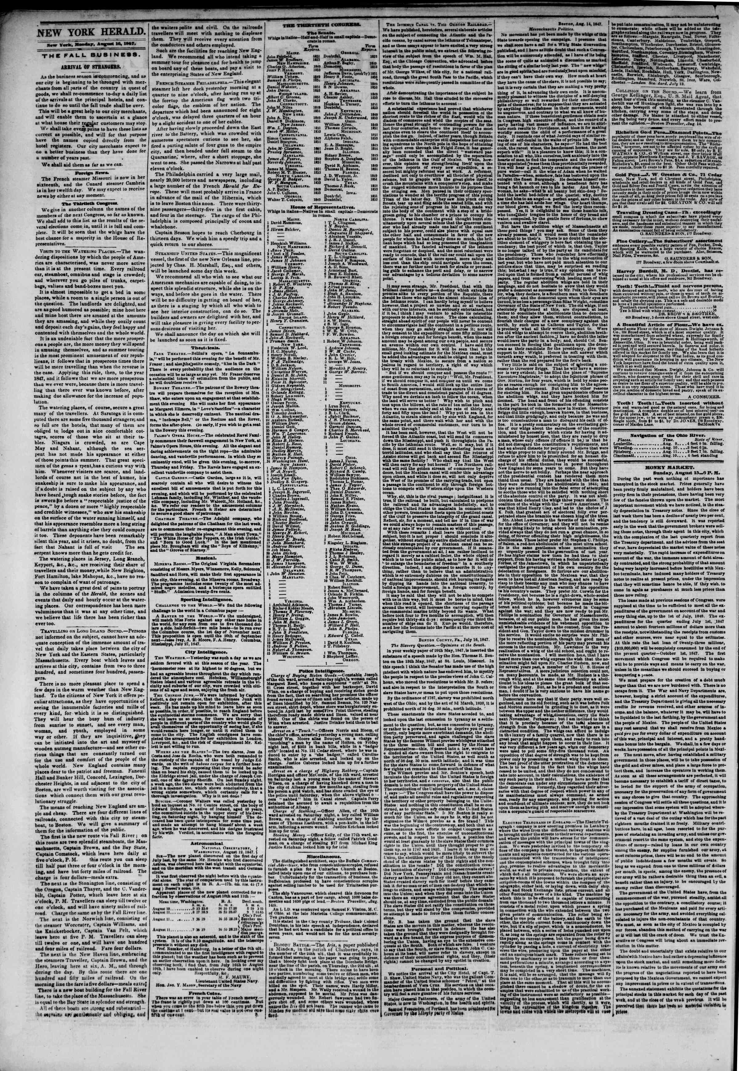 Newspaper of The New York Herald dated August 16, 1847 Page 2