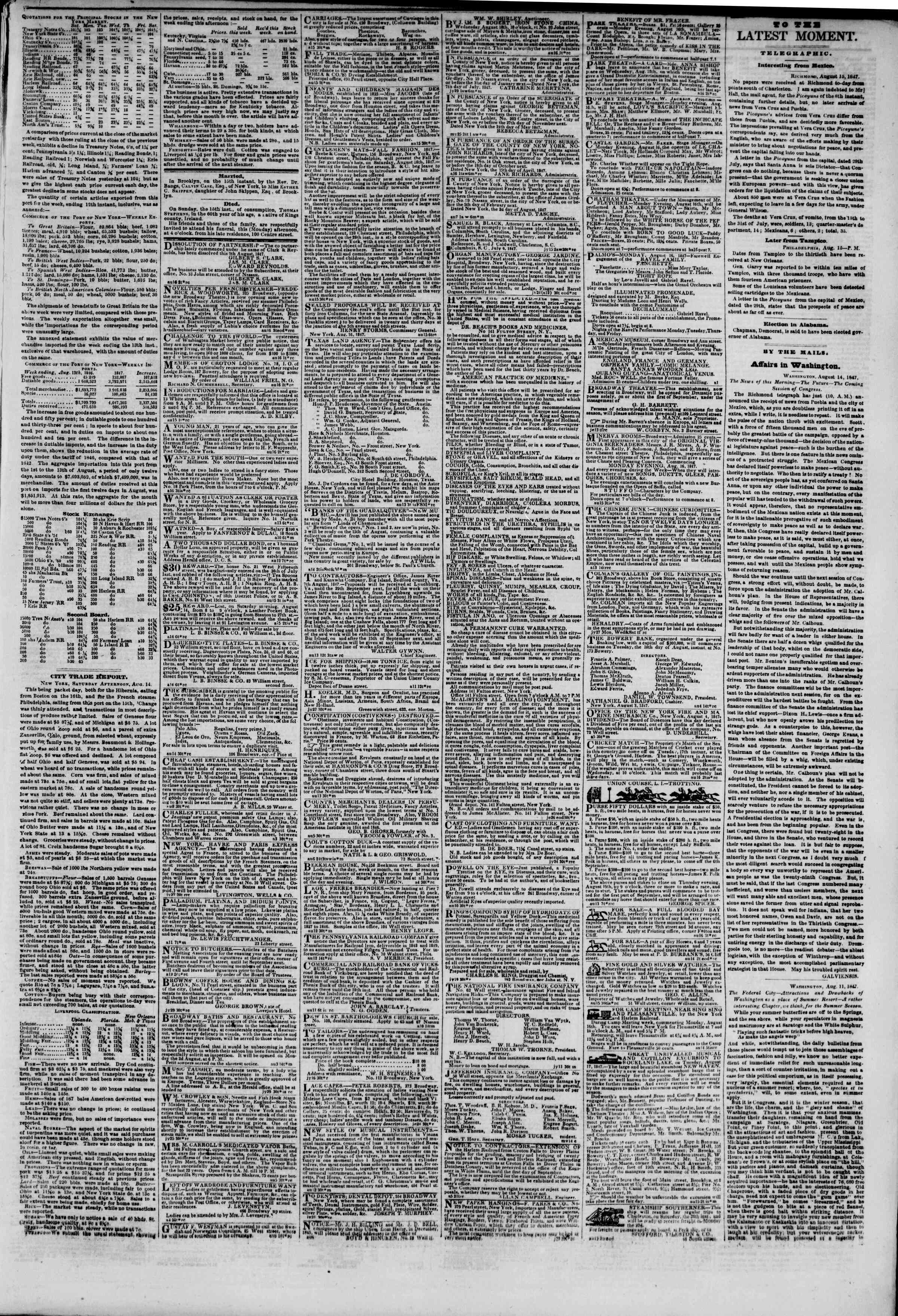 Newspaper of The New York Herald dated August 16, 1847 Page 3