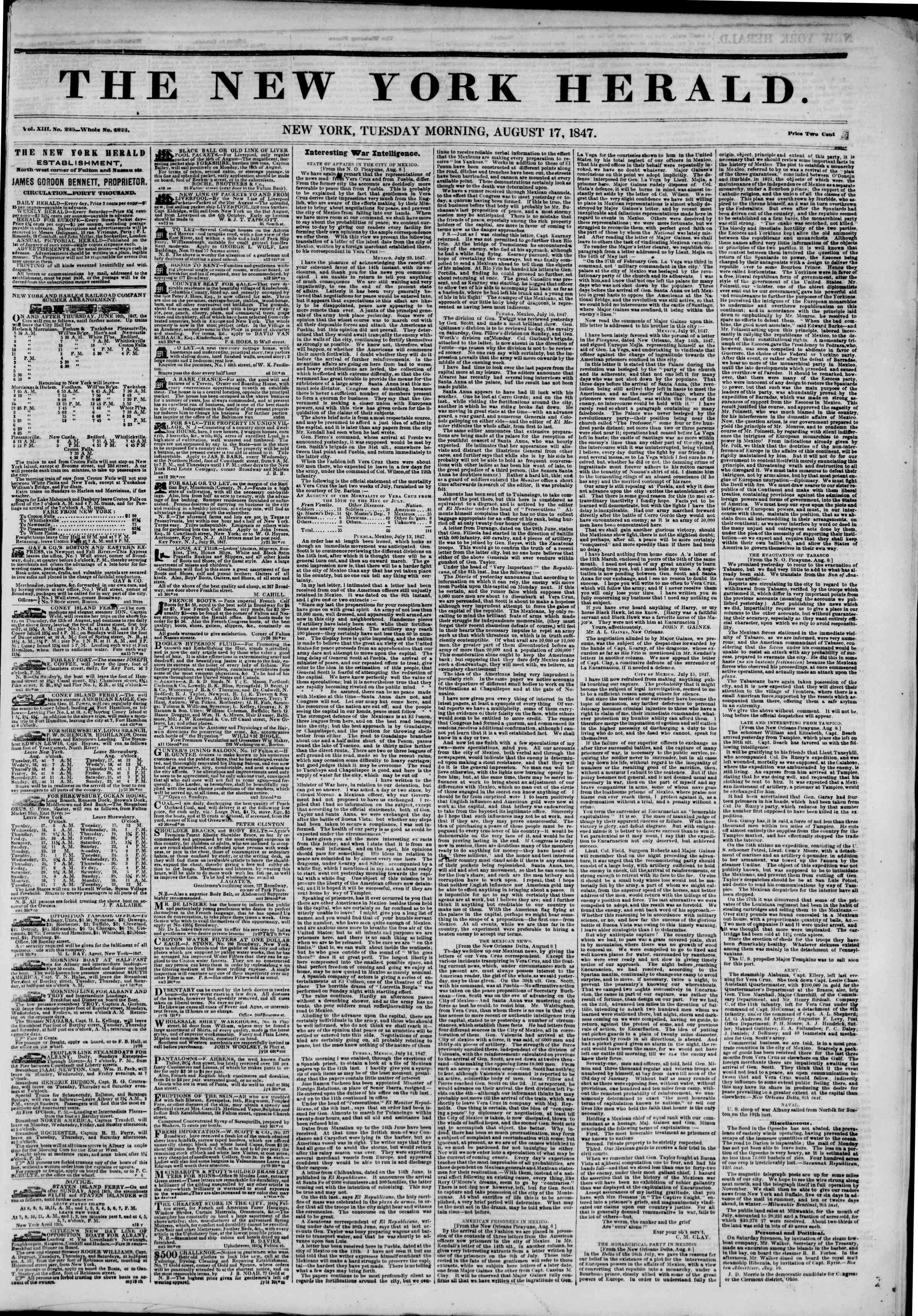 Newspaper of The New York Herald dated August 17, 1847 Page 1