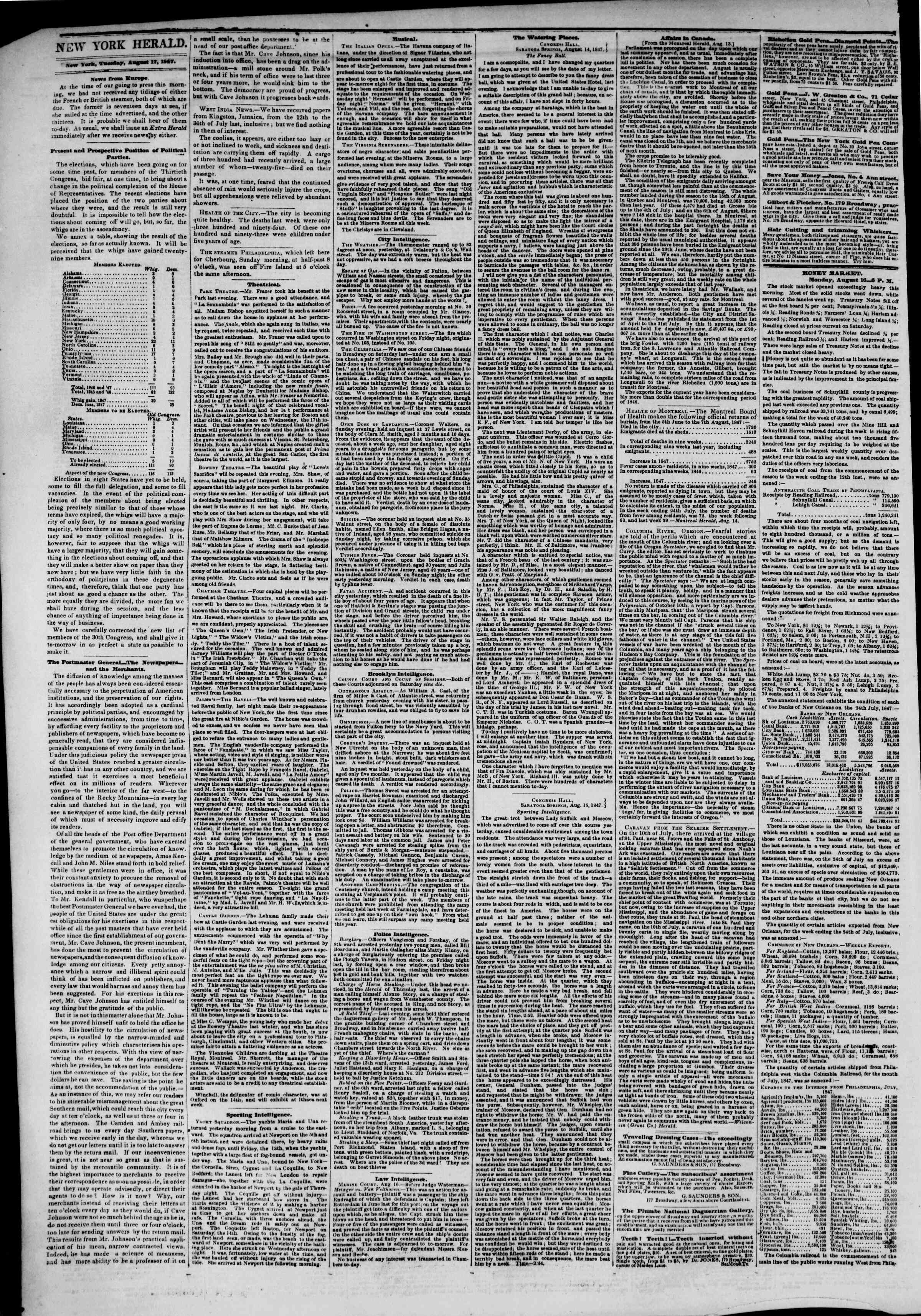 Newspaper of The New York Herald dated August 17, 1847 Page 2