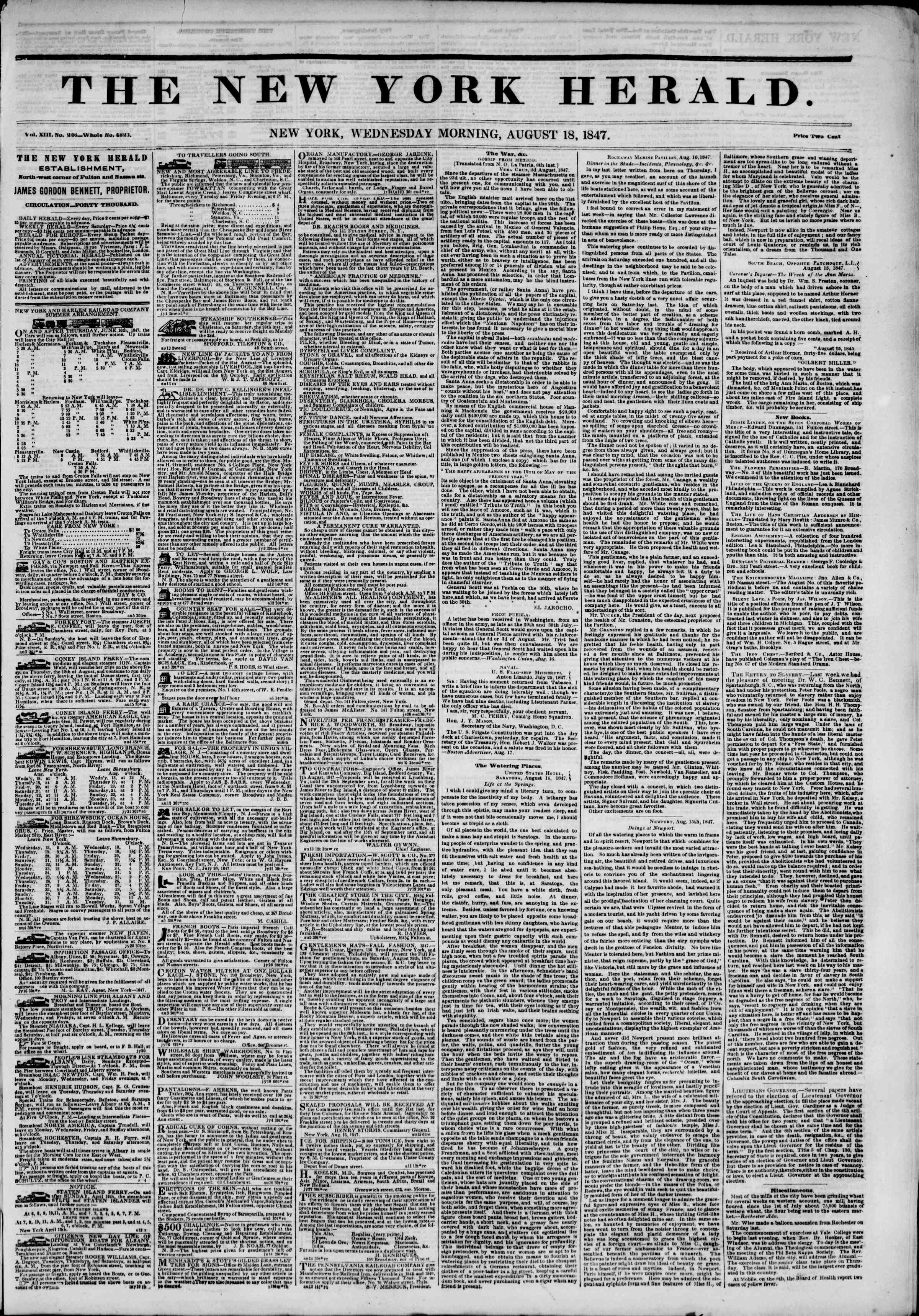 Newspaper of The New York Herald dated August 18, 1847 Page 1