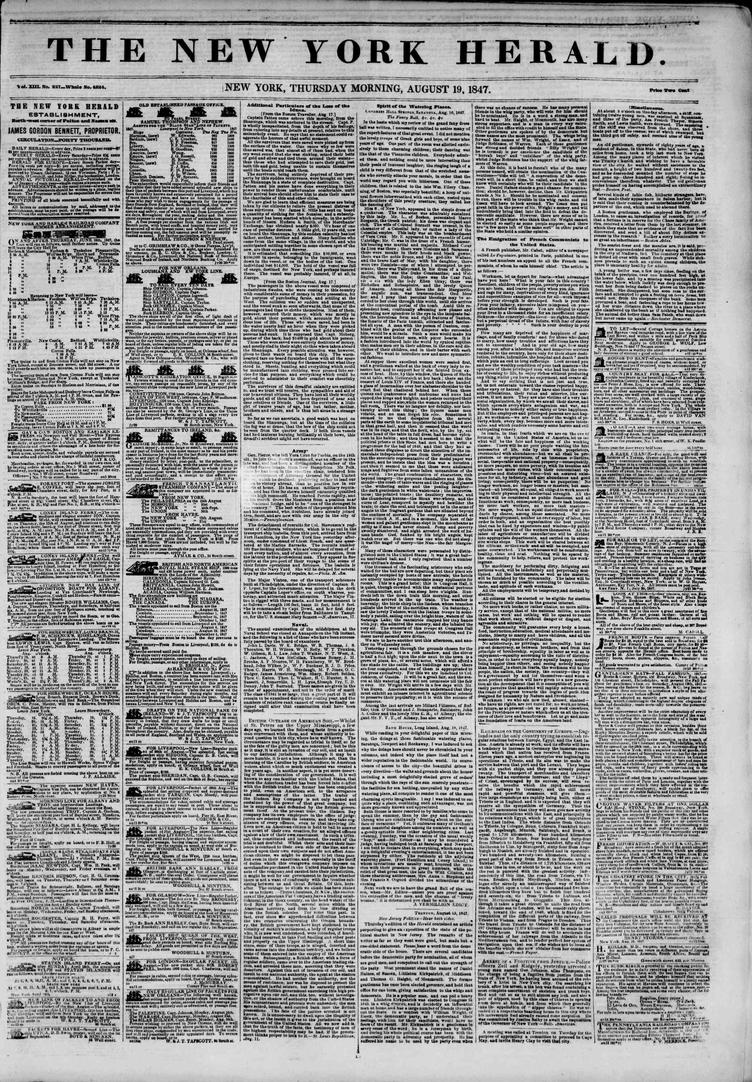 Newspaper of The New York Herald dated August 19, 1847 Page 1