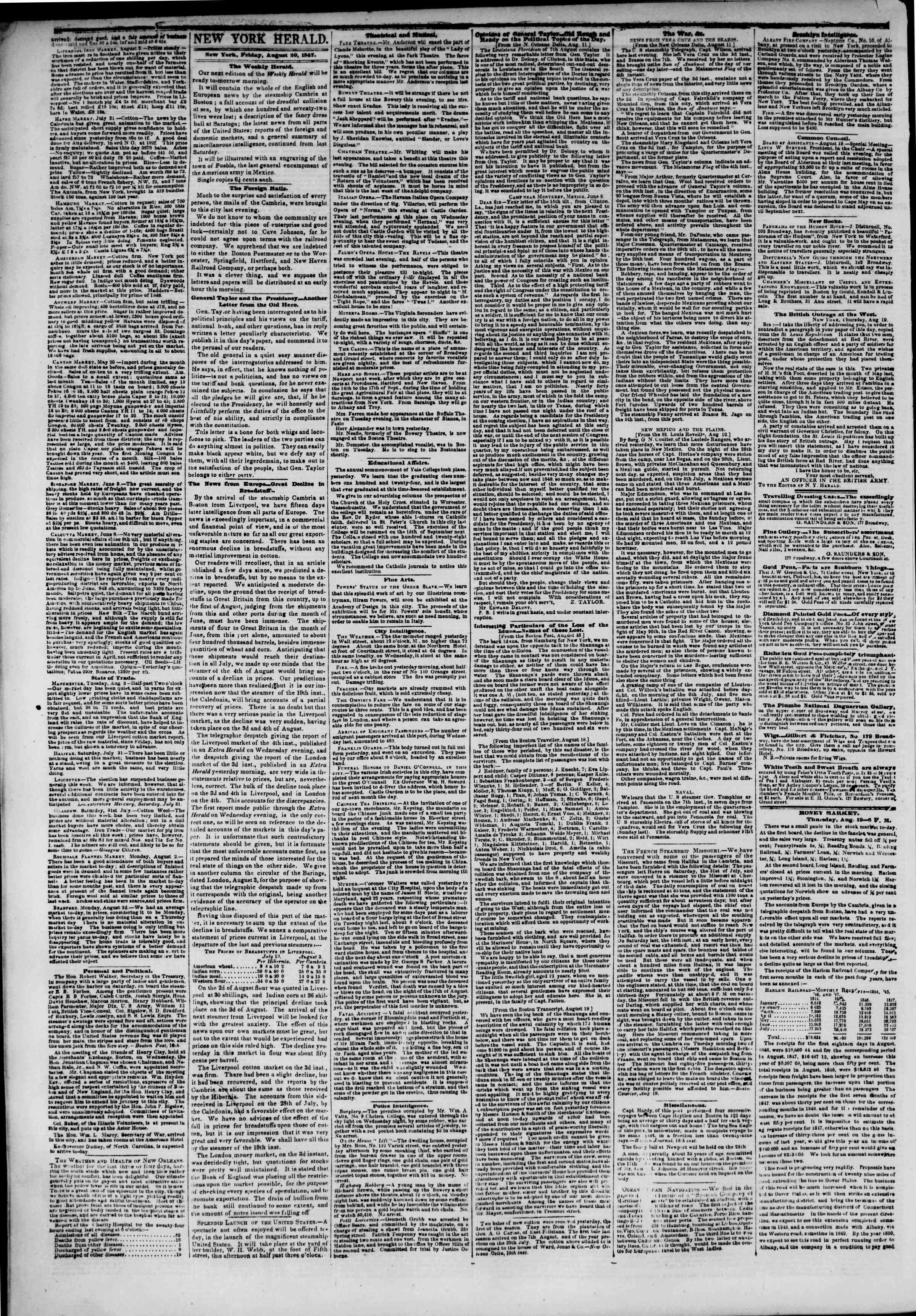 Newspaper of The New York Herald dated August 20, 1847 Page 2