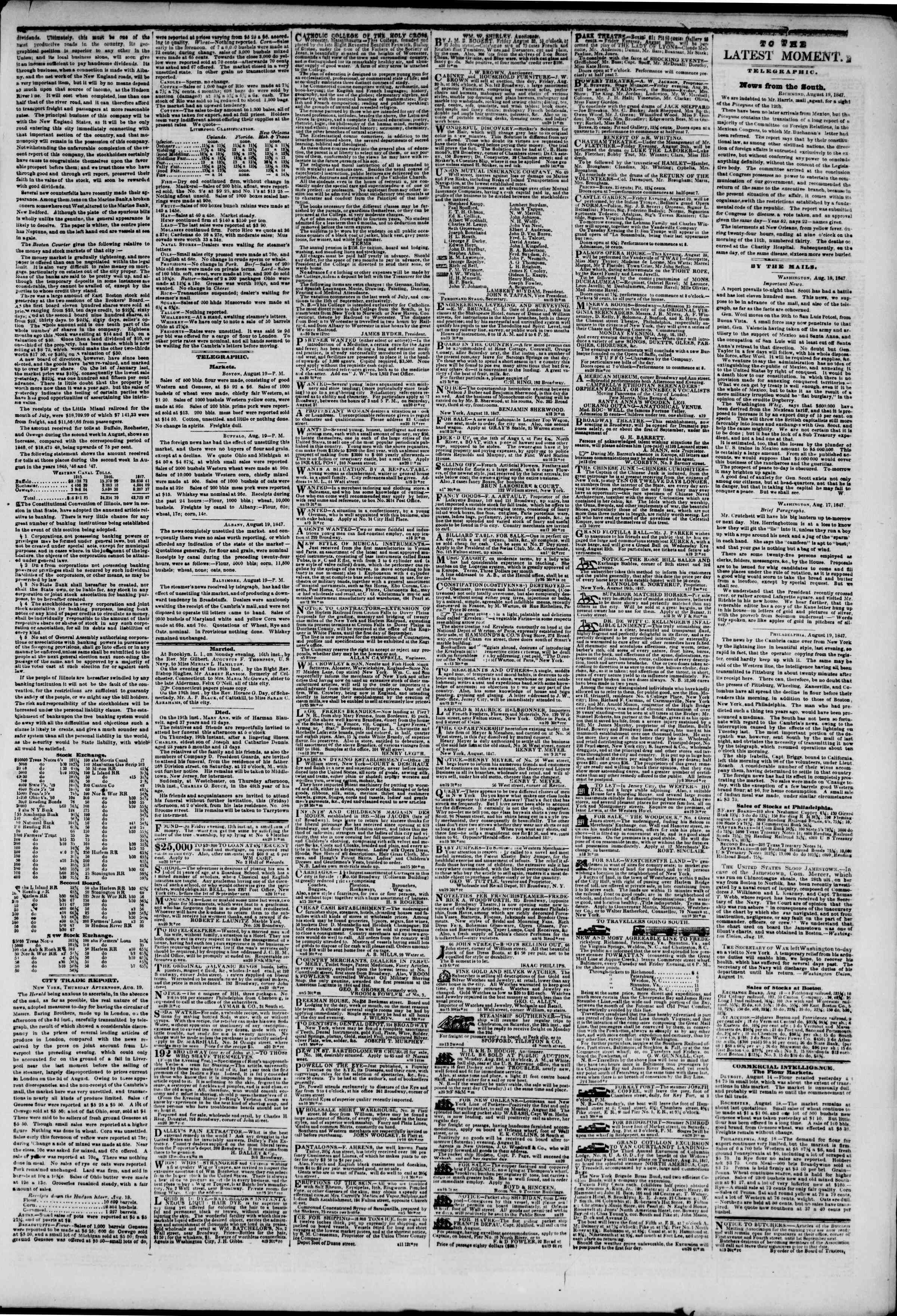 Newspaper of The New York Herald dated August 20, 1847 Page 3