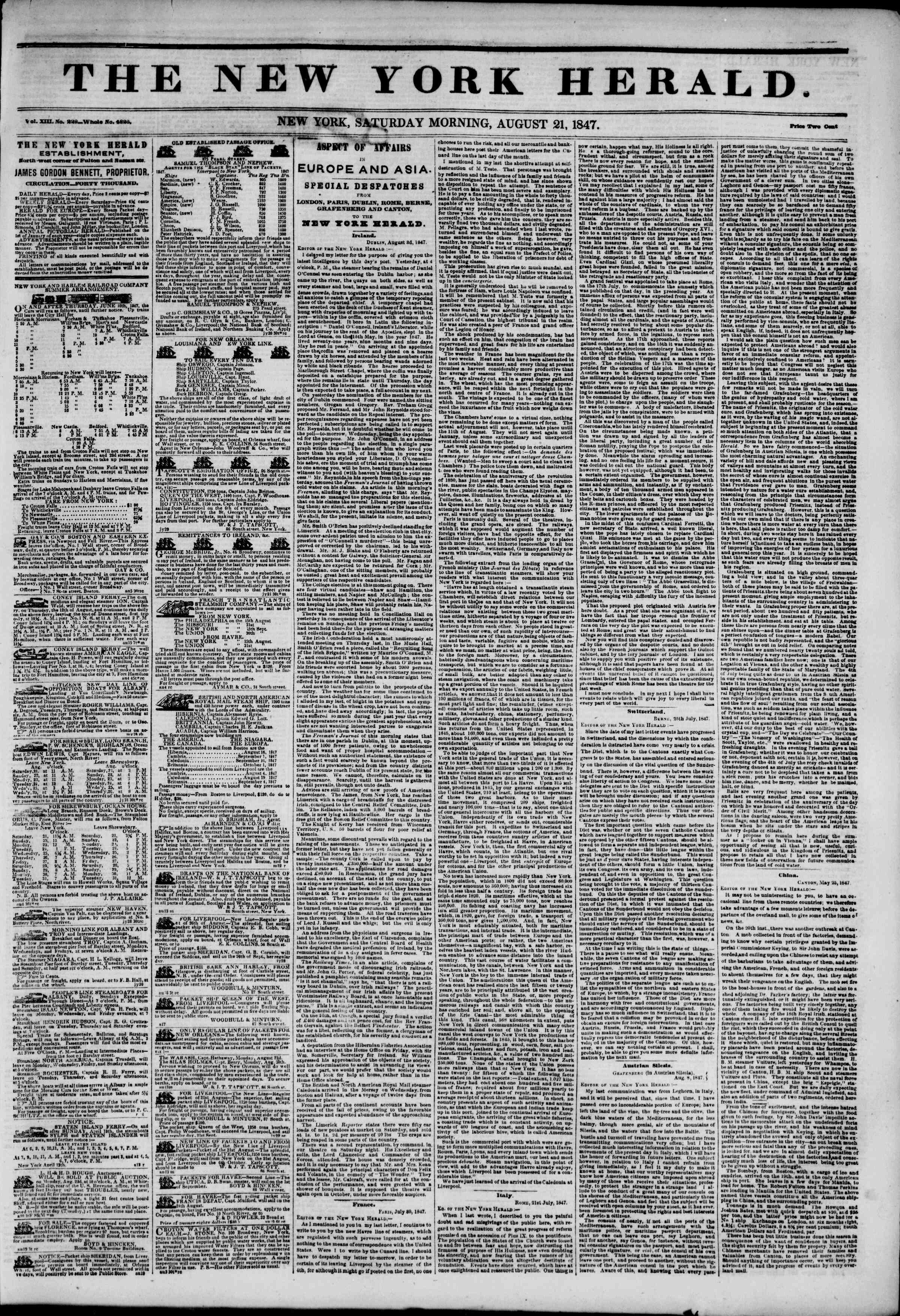 Newspaper of The New York Herald dated August 21, 1847 Page 1