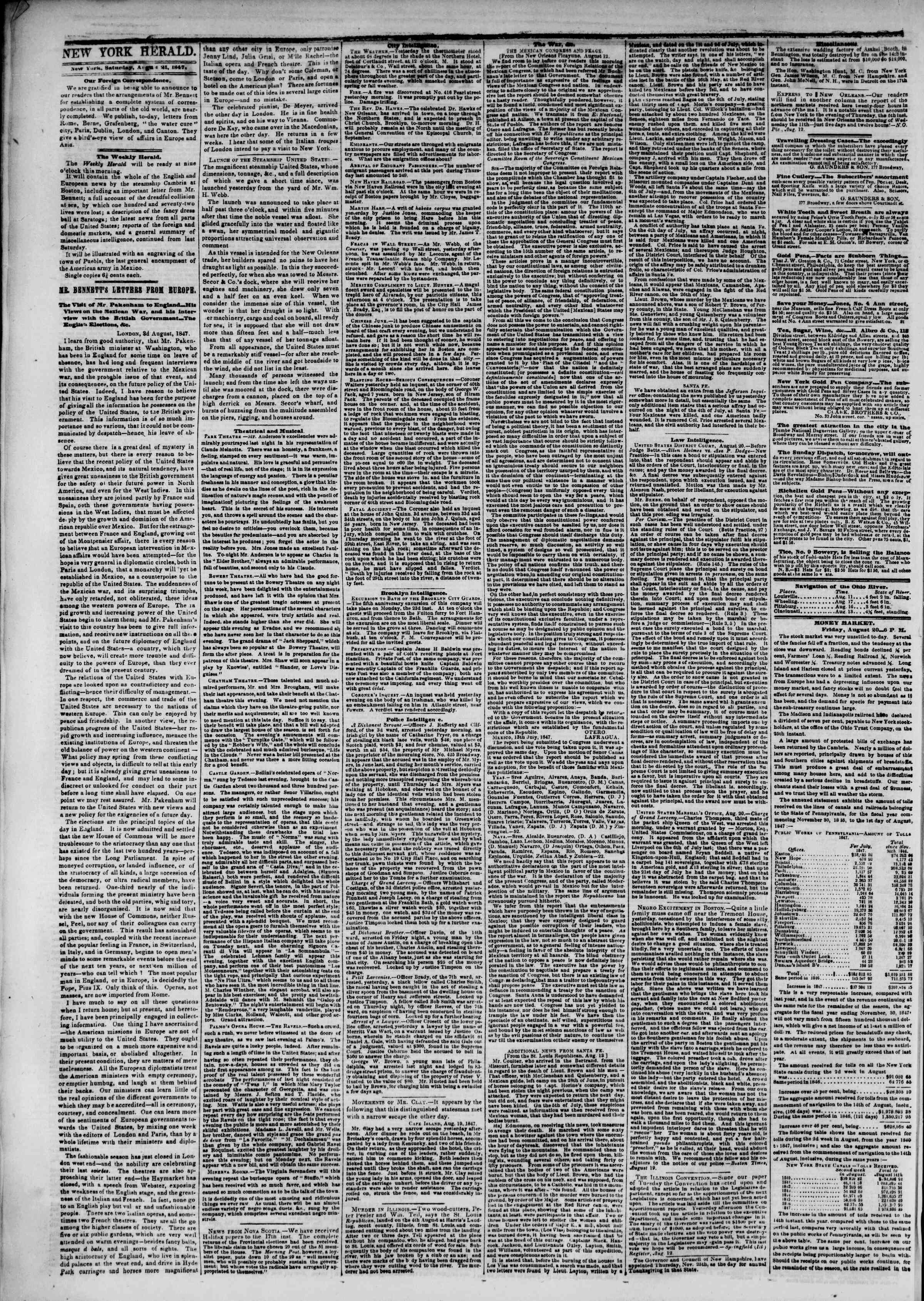 Newspaper of The New York Herald dated August 21, 1847 Page 2