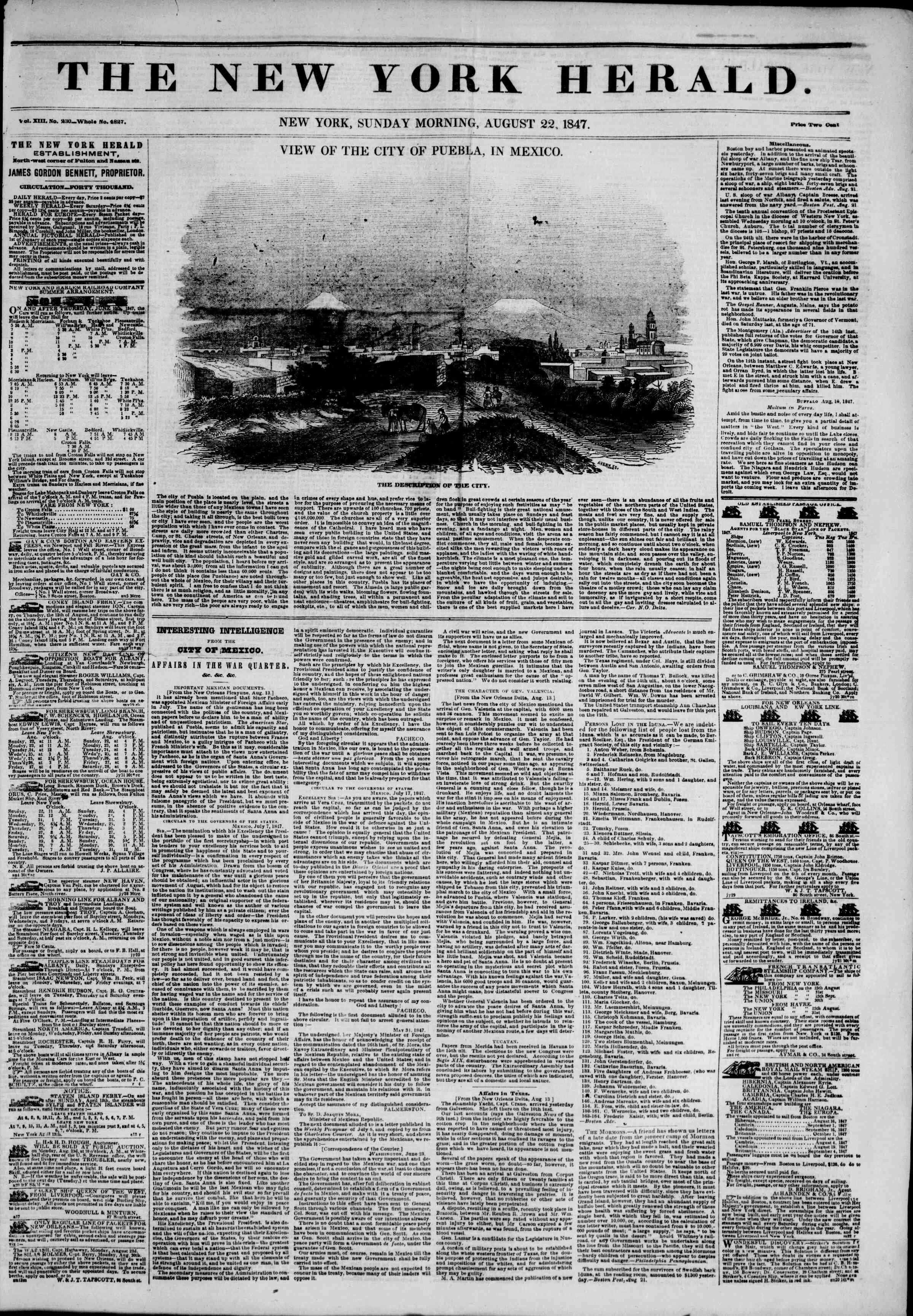 Newspaper of The New York Herald dated August 22, 1847 Page 1