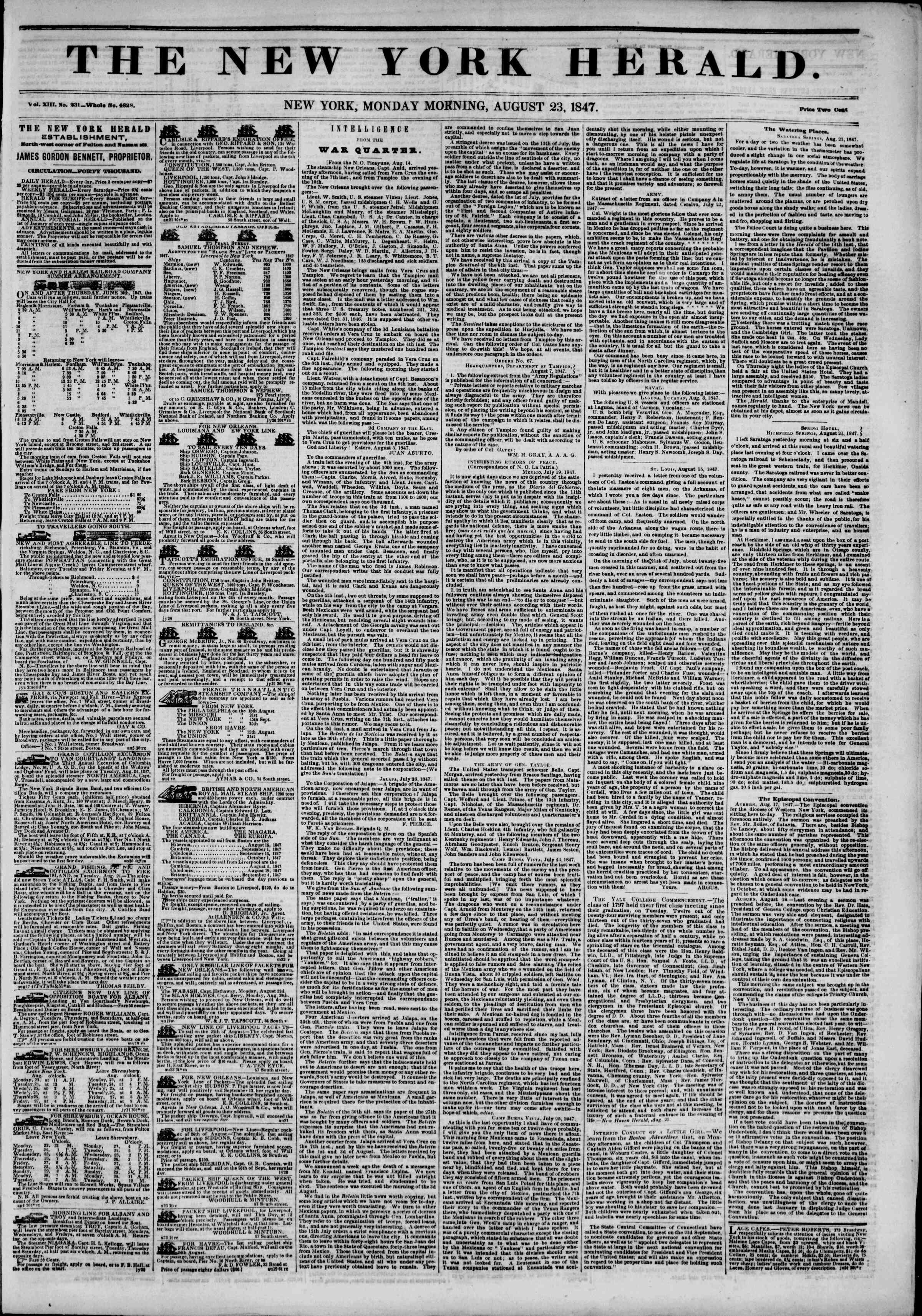 Newspaper of The New York Herald dated August 23, 1847 Page 1