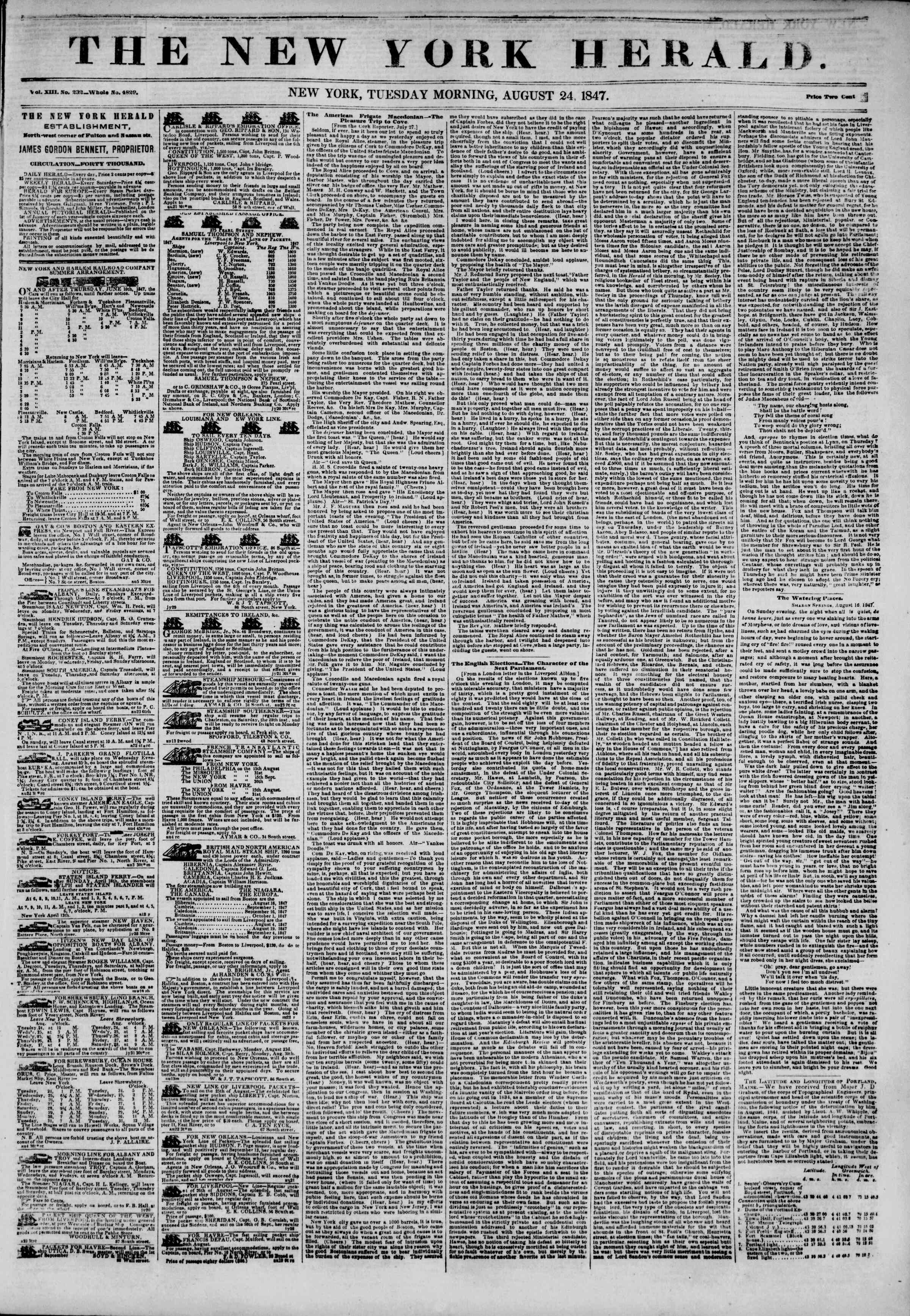 Newspaper of The New York Herald dated August 24, 1847 Page 1