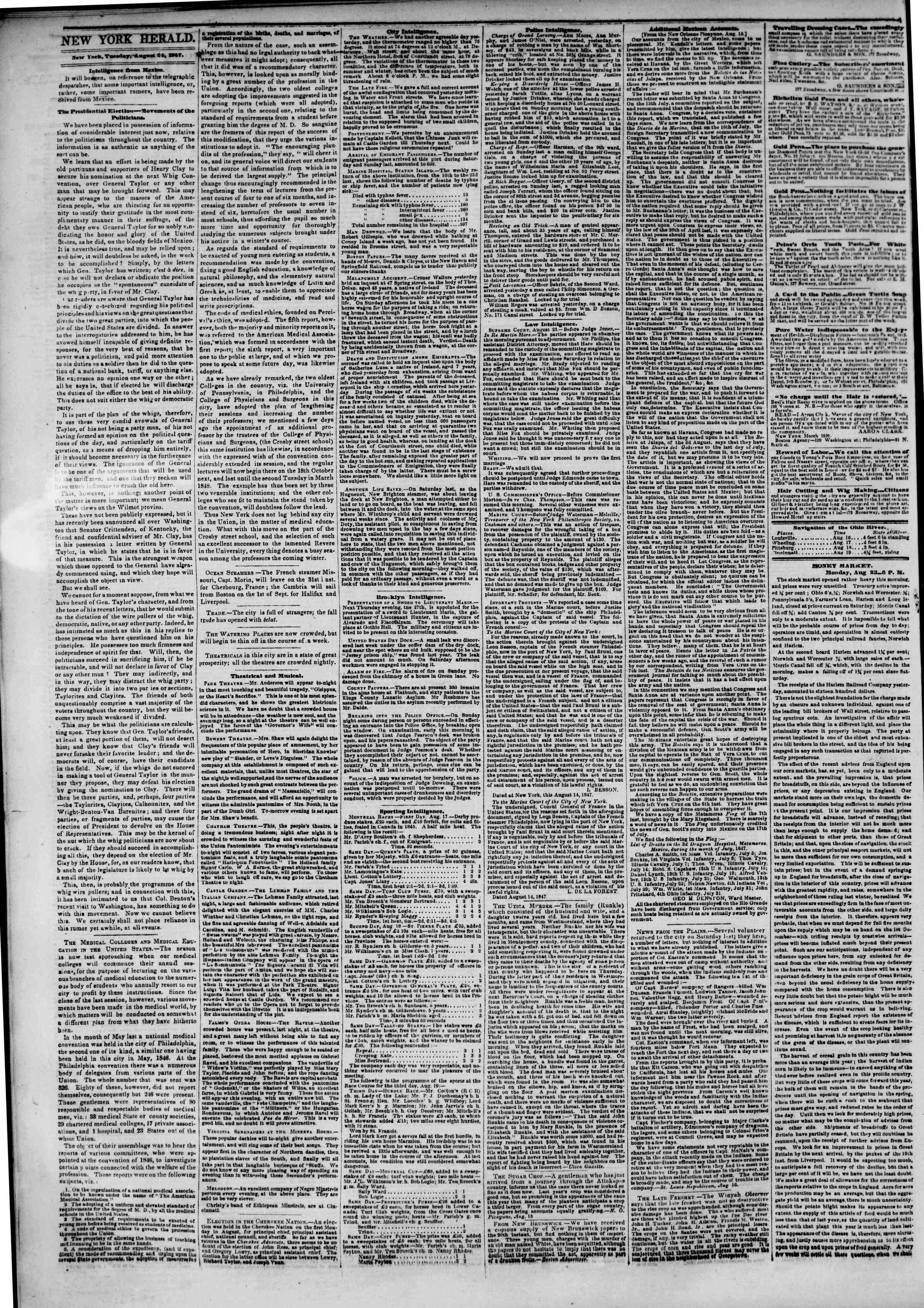 Newspaper of The New York Herald dated August 24, 1847 Page 2