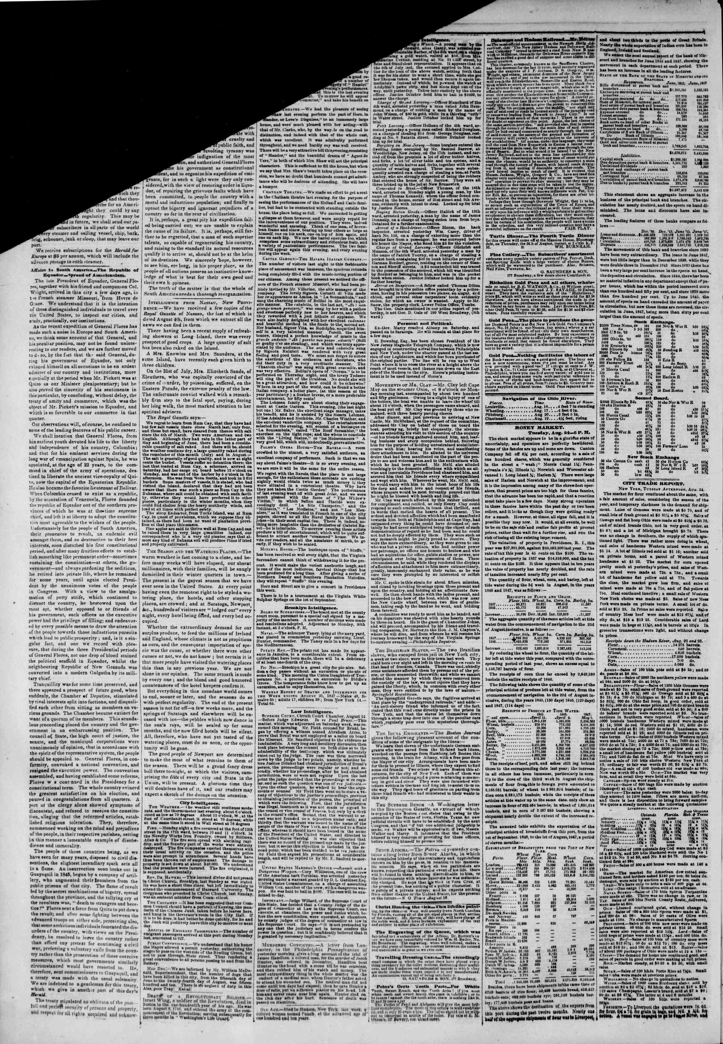 Newspaper of The New York Herald dated August 25, 1847 Page 2
