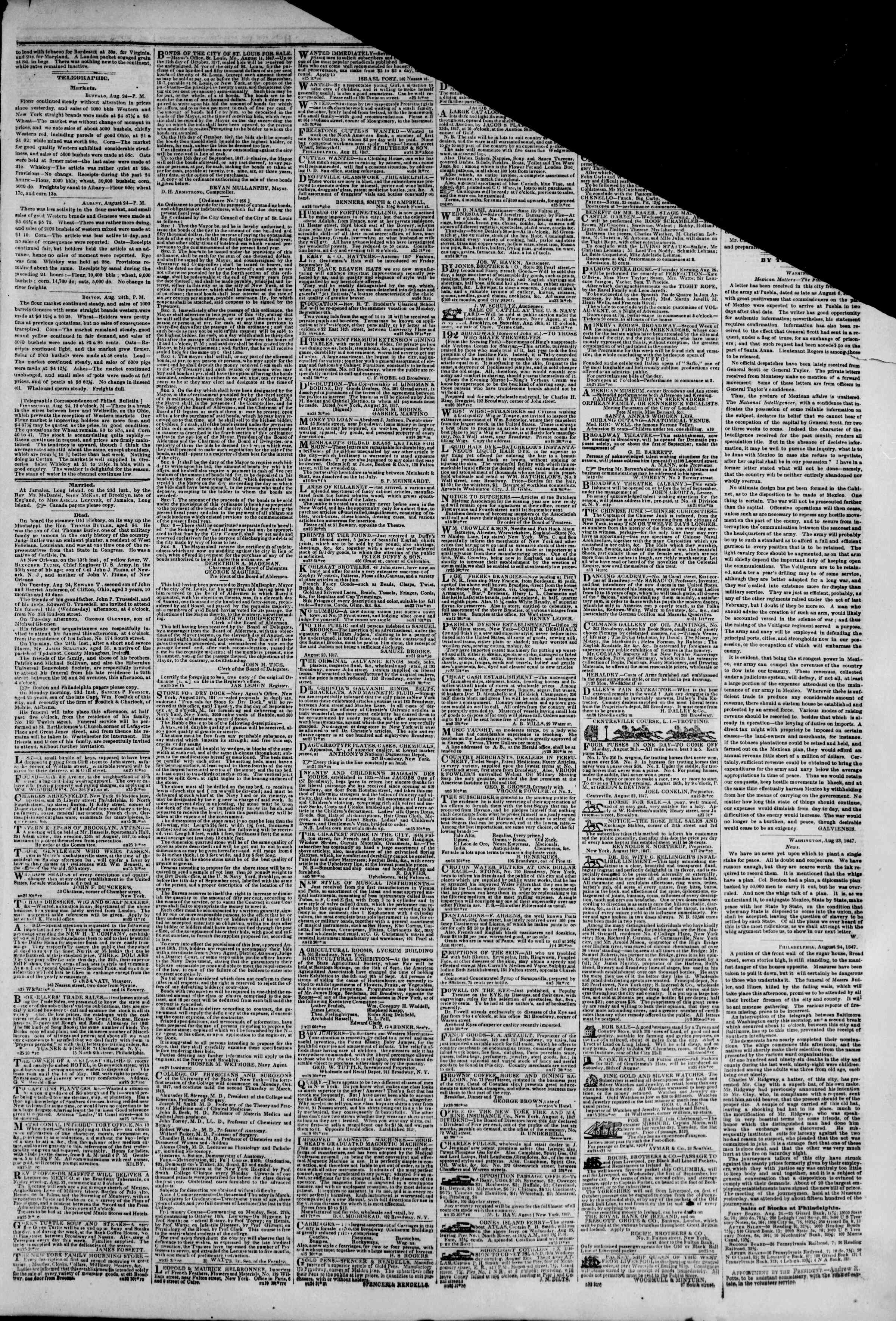 Newspaper of The New York Herald dated August 25, 1847 Page 3