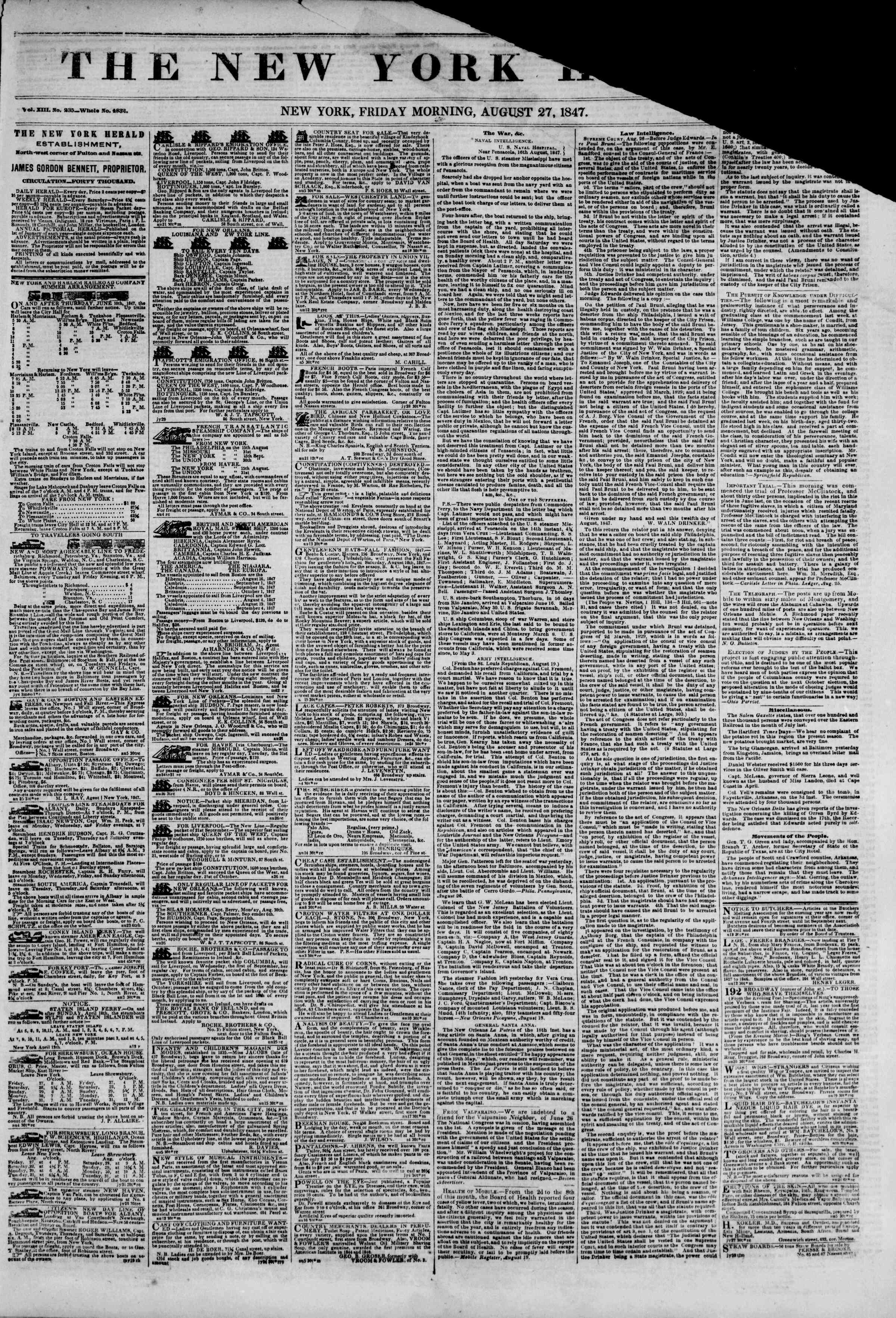 Newspaper of The New York Herald dated August 27, 1847 Page 1