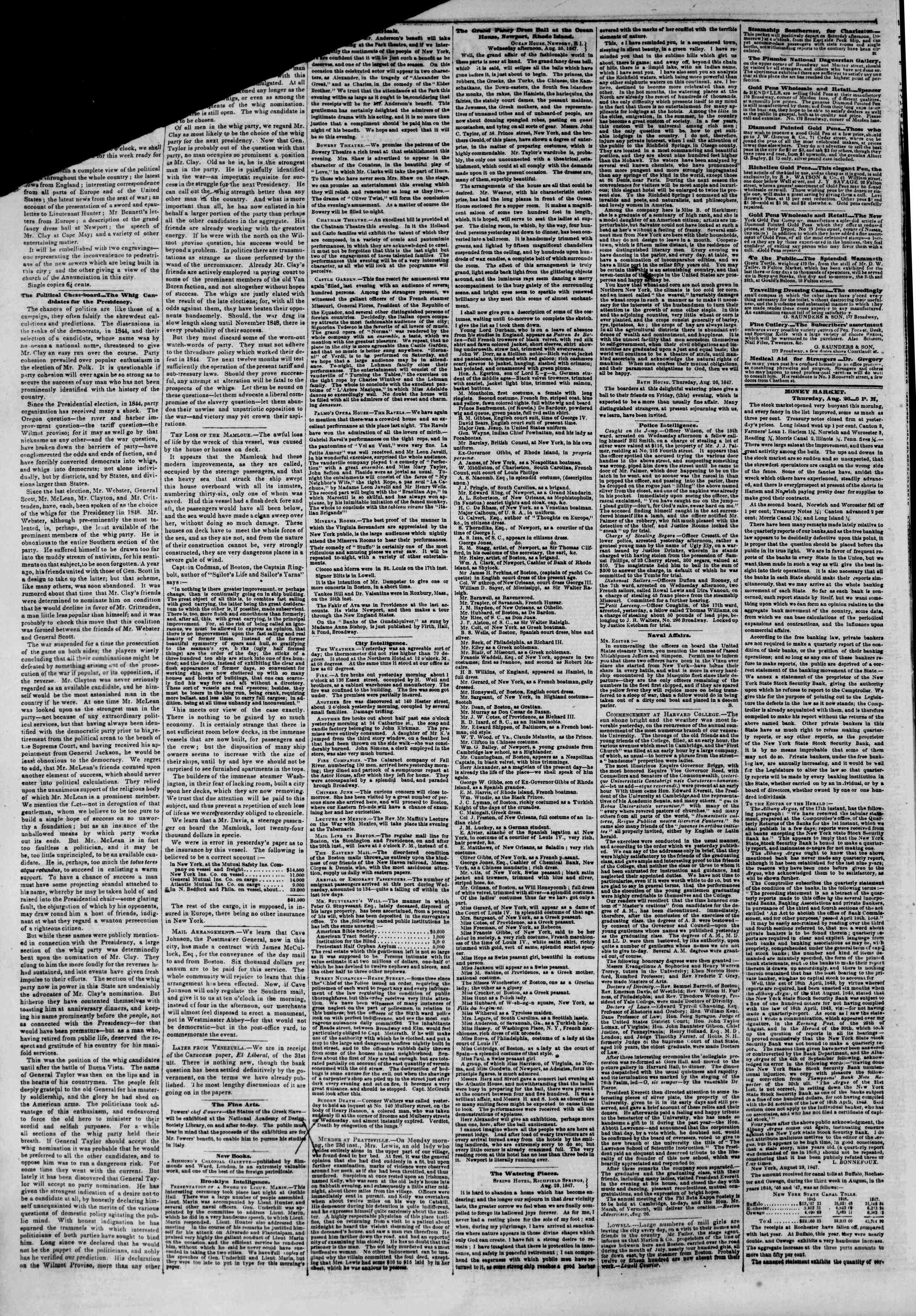Newspaper of The New York Herald dated August 27, 1847 Page 2