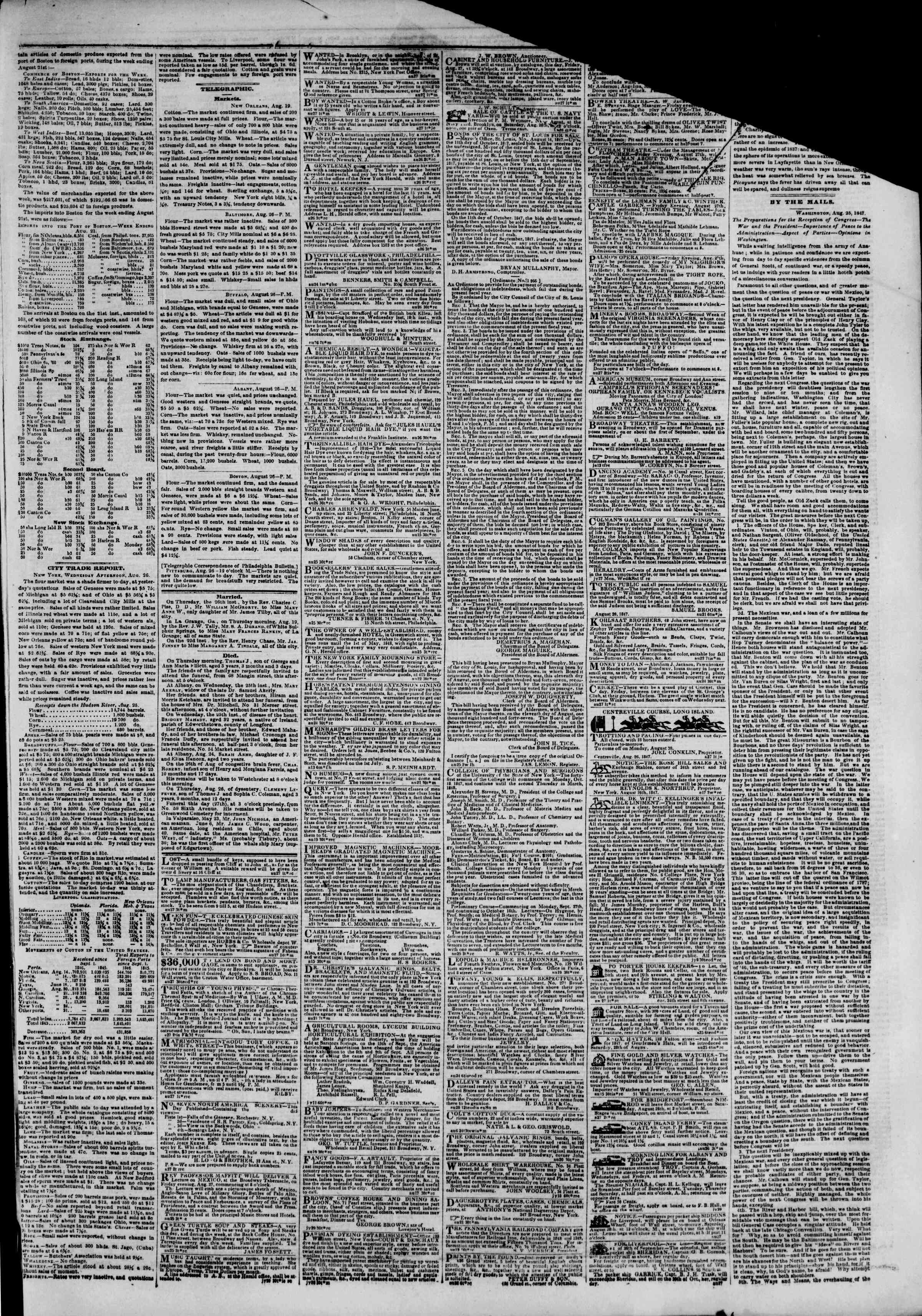 Newspaper of The New York Herald dated August 27, 1847 Page 3