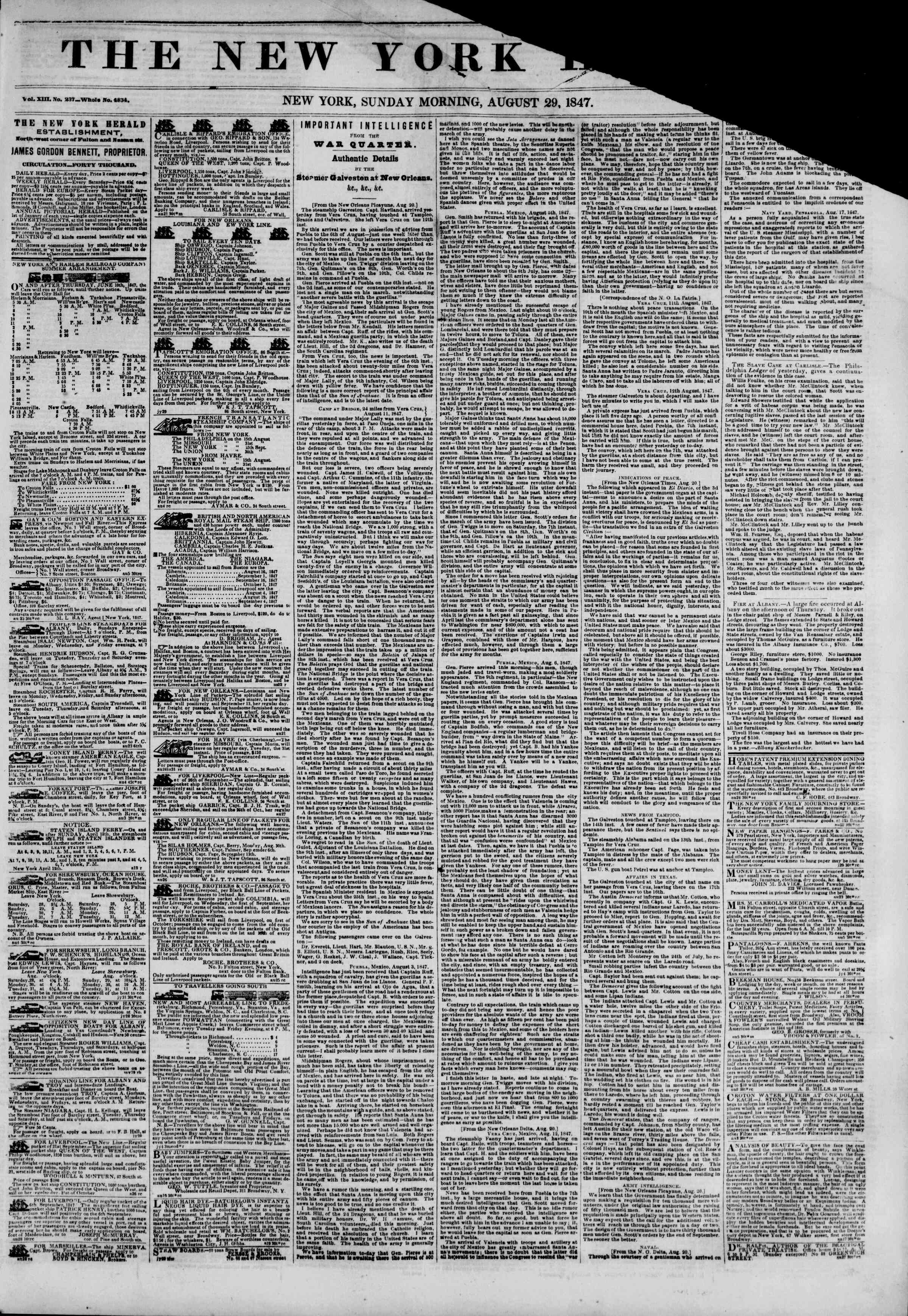 Newspaper of The New York Herald dated August 29, 1847 Page 1