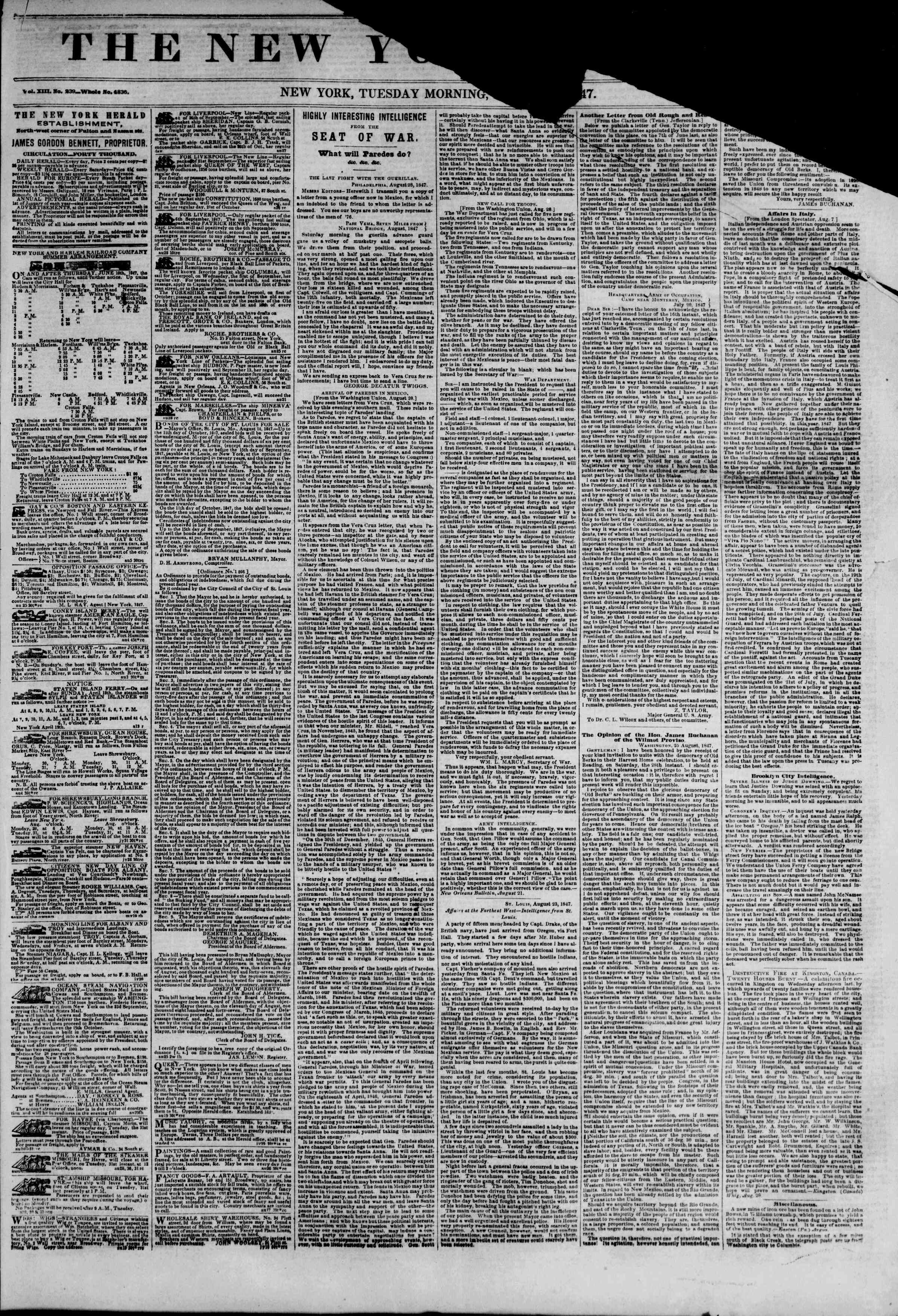 Newspaper of The New York Herald dated August 31, 1847 Page 1