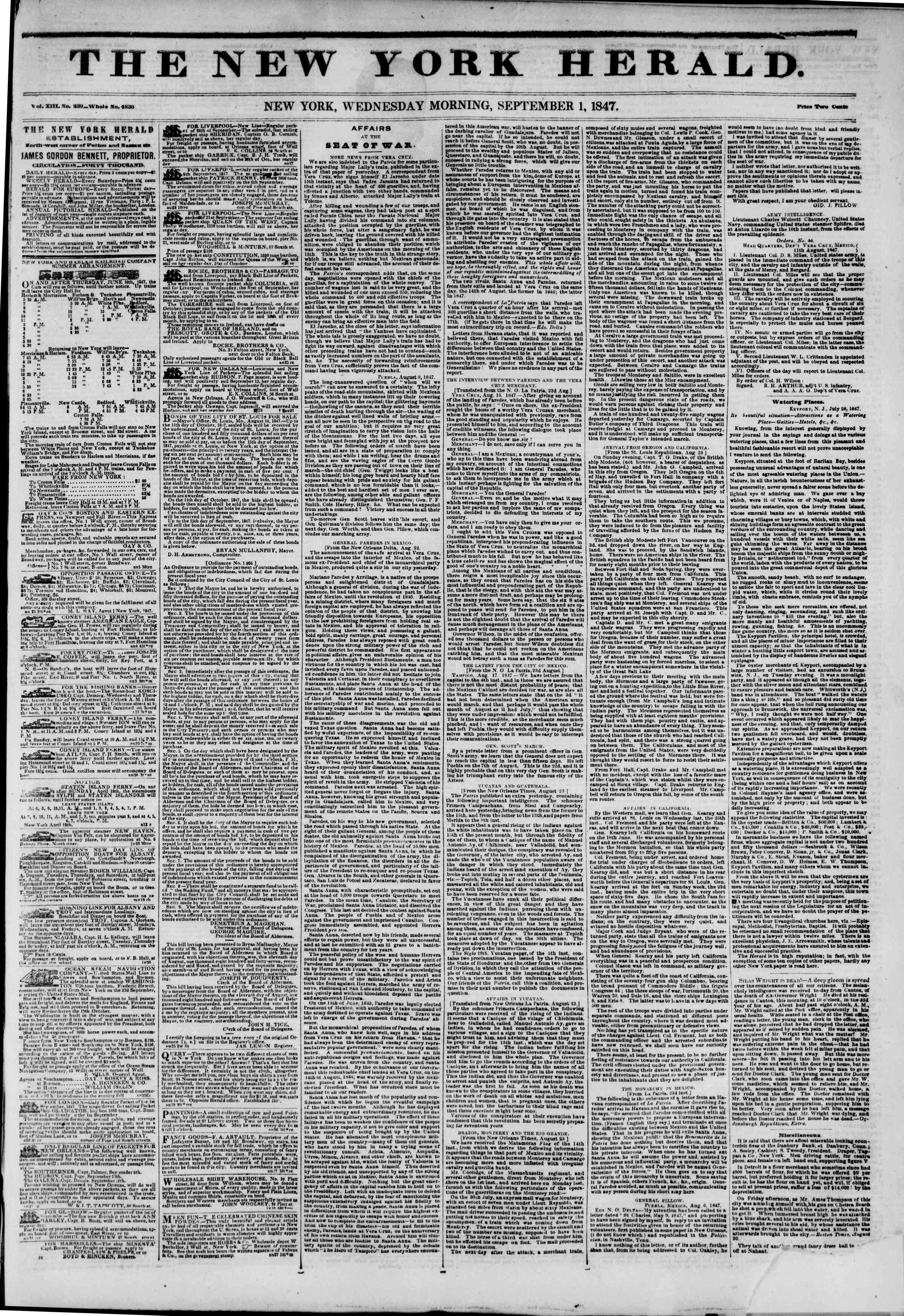 Newspaper of The New York Herald dated September 1, 1847 Page 1