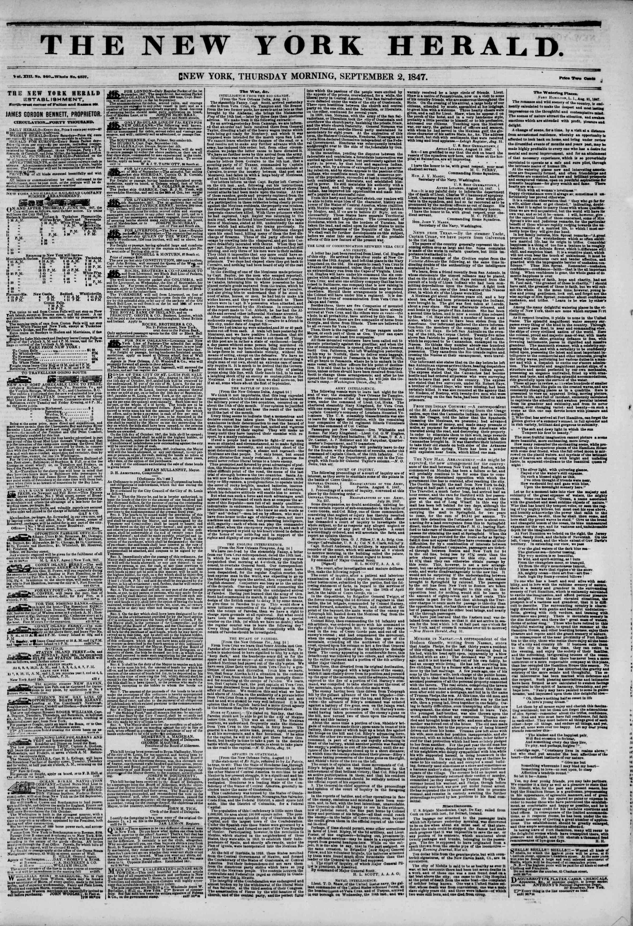 Newspaper of The New York Herald dated September 2, 1847 Page 1