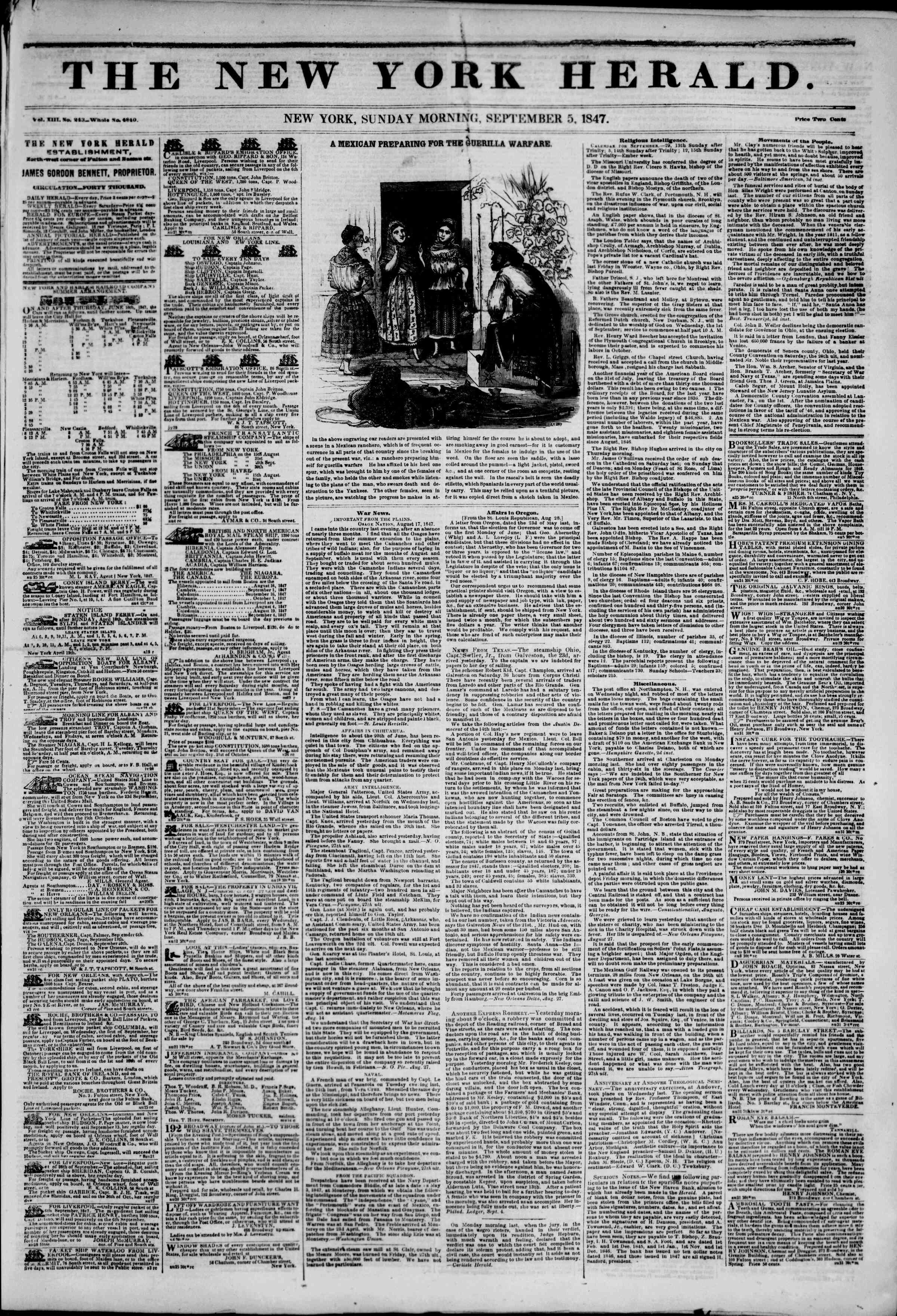 Newspaper of The New York Herald dated September 5, 1847 Page 1