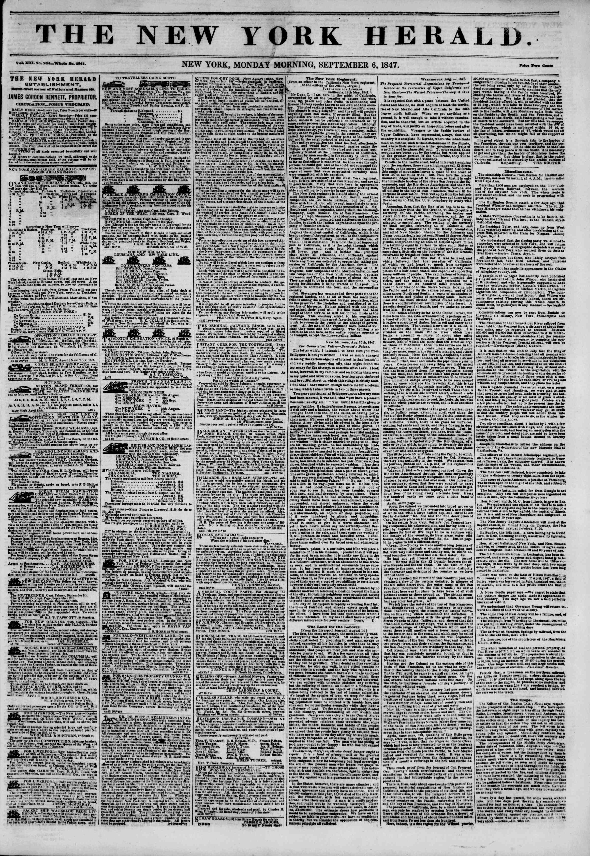 6 Eylül 1847 tarihli The New York Herald Gazetesi Sayfa 1