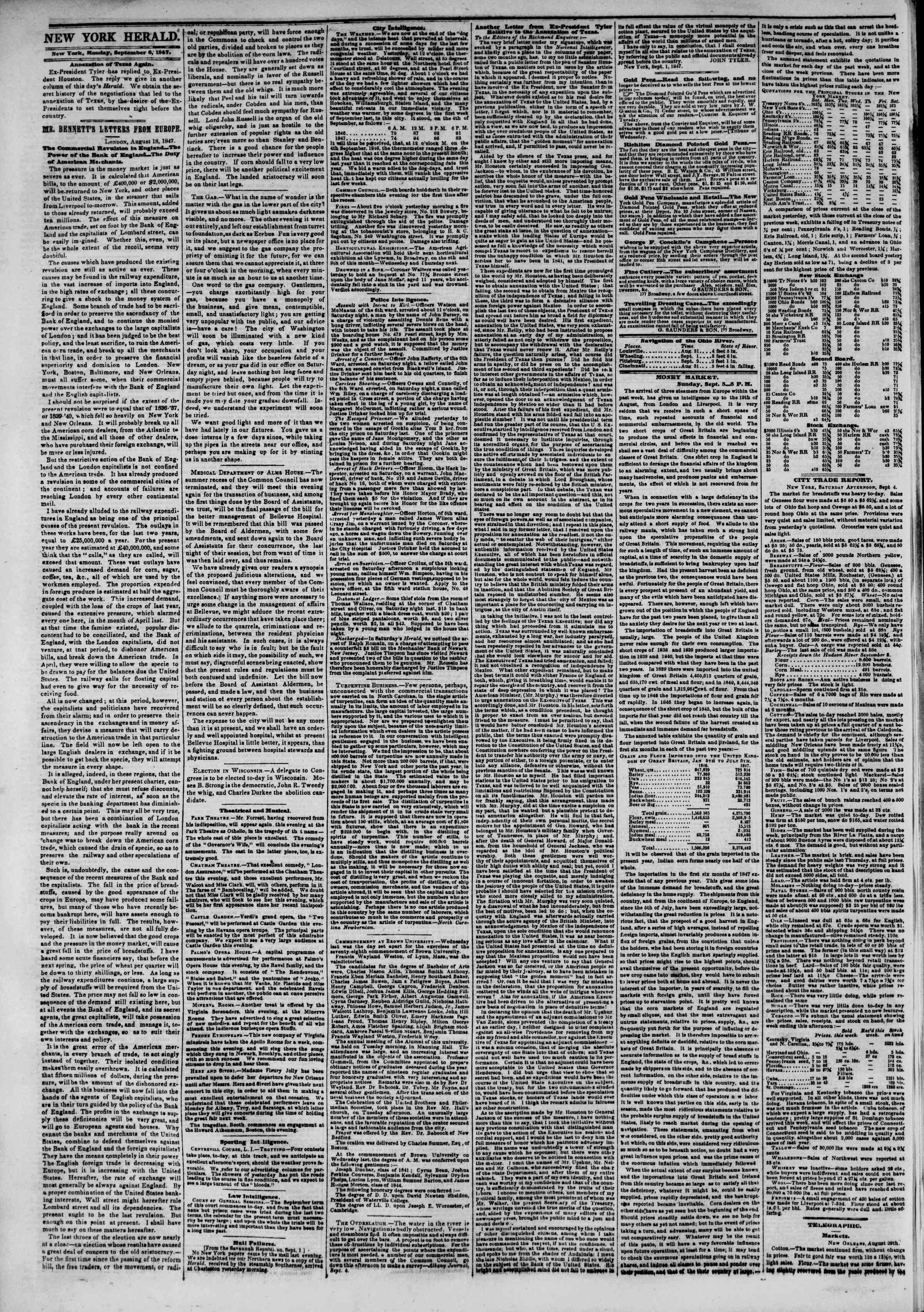 Newspaper of The New York Herald dated September 6, 1847 Page 2