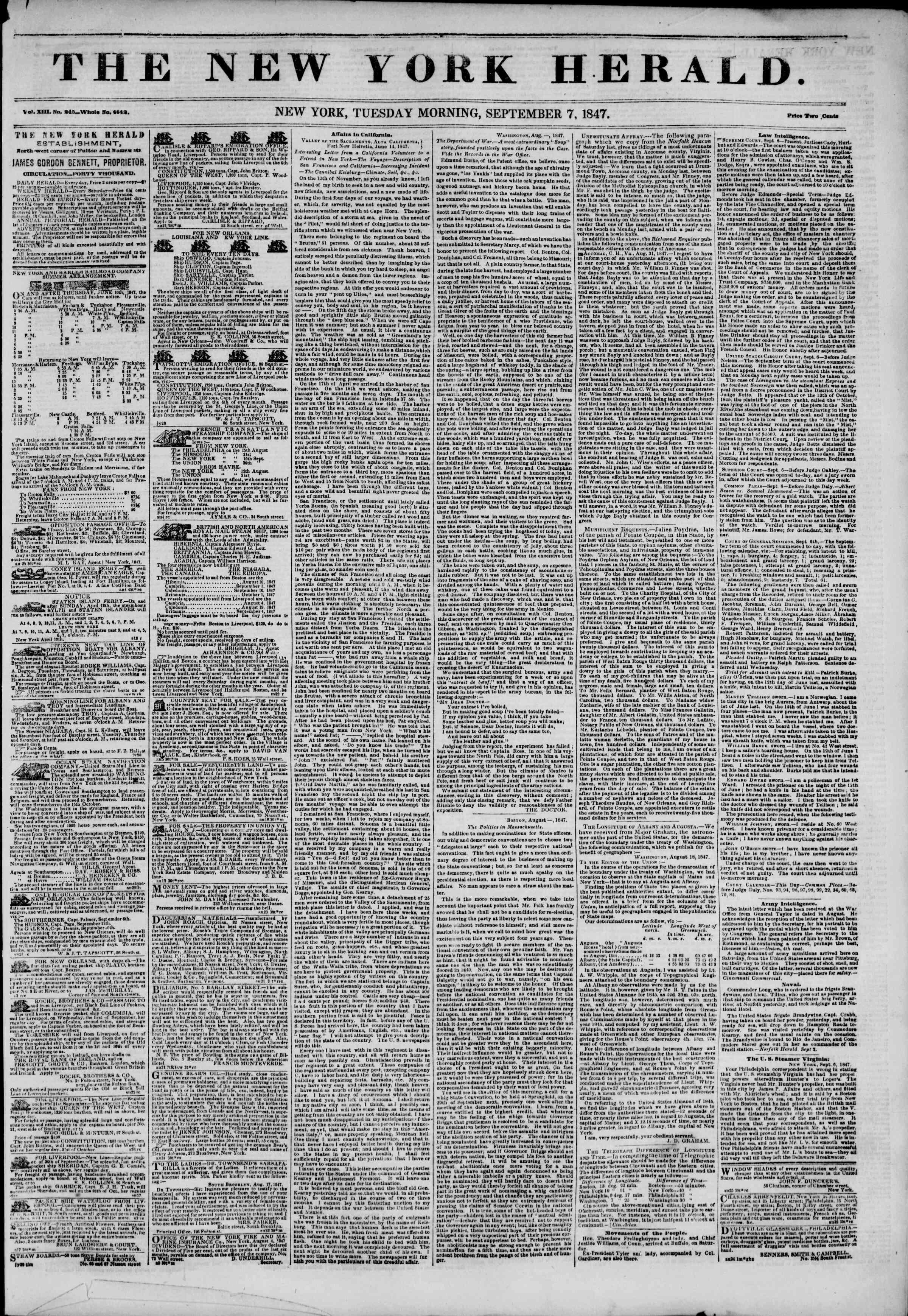 7 Eylül 1847 tarihli The New York Herald Gazetesi Sayfa 1