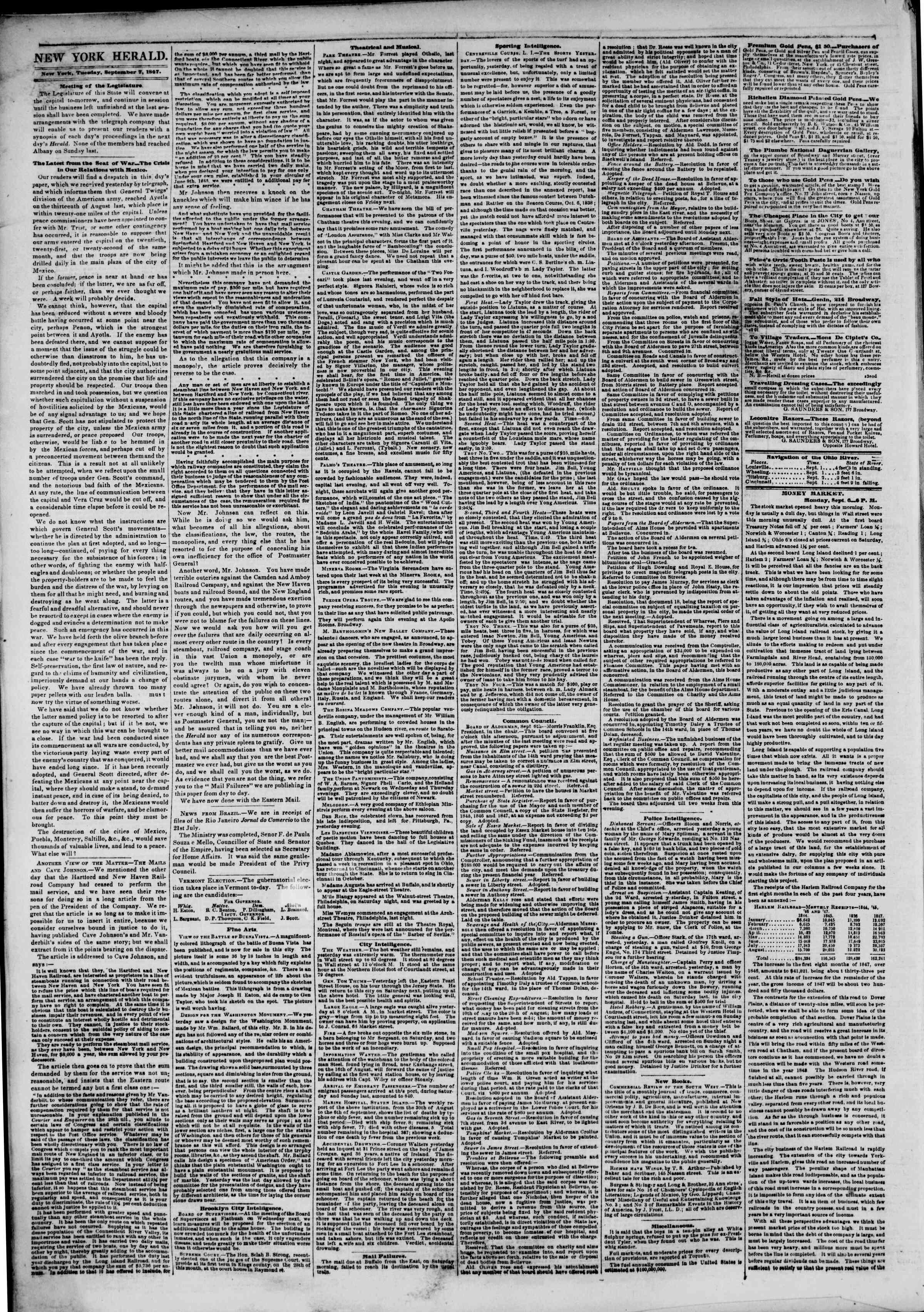 7 Eylül 1847 tarihli The New York Herald Gazetesi Sayfa 2
