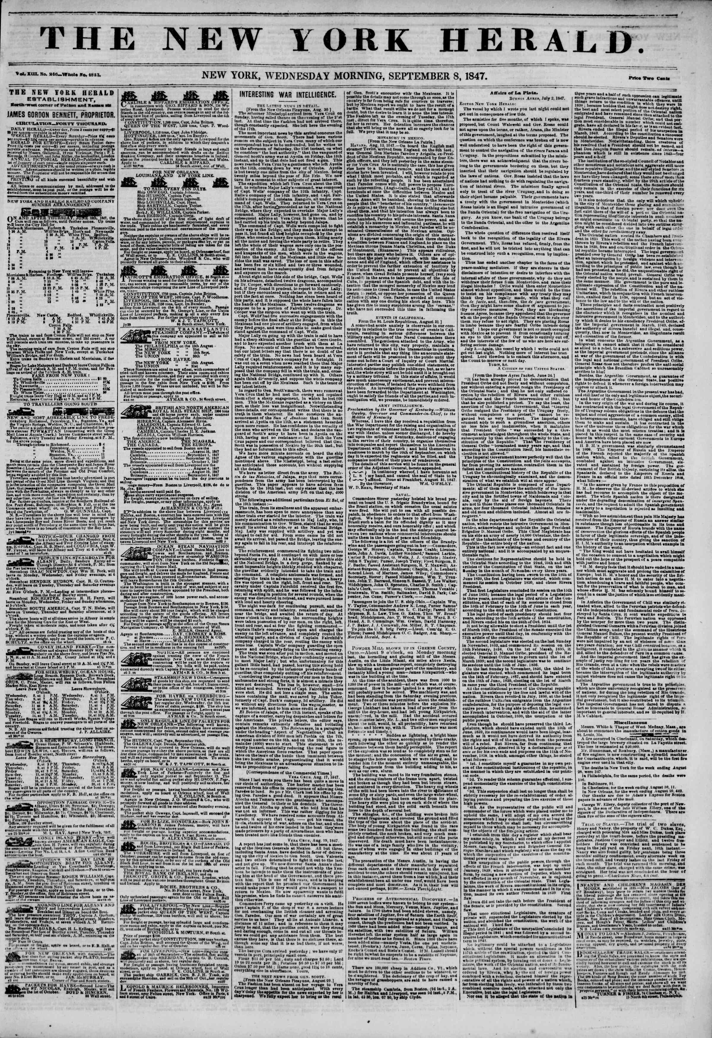 8 Eylül 1847 tarihli The New York Herald Gazetesi Sayfa 1