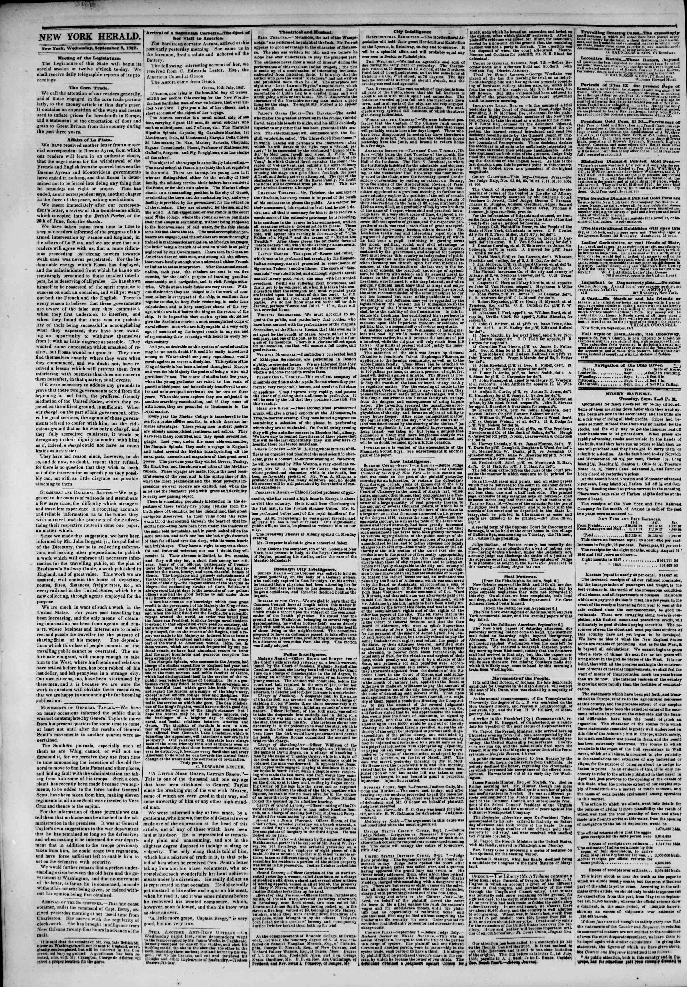 Newspaper of The New York Herald dated September 8, 1847 Page 2
