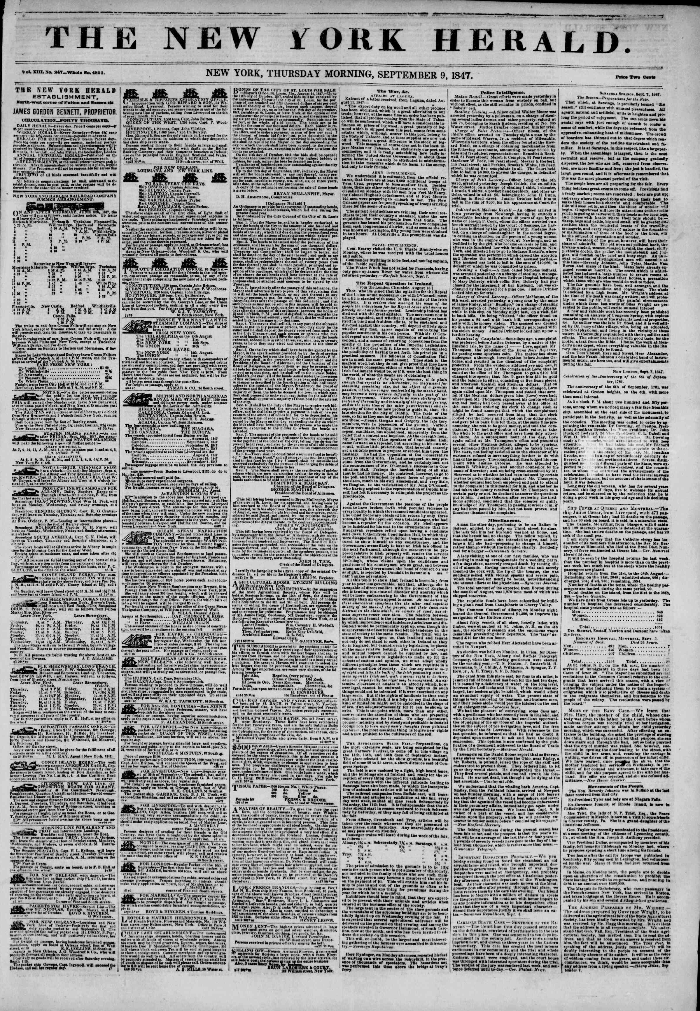 Newspaper of The New York Herald dated September 9, 1847 Page 1