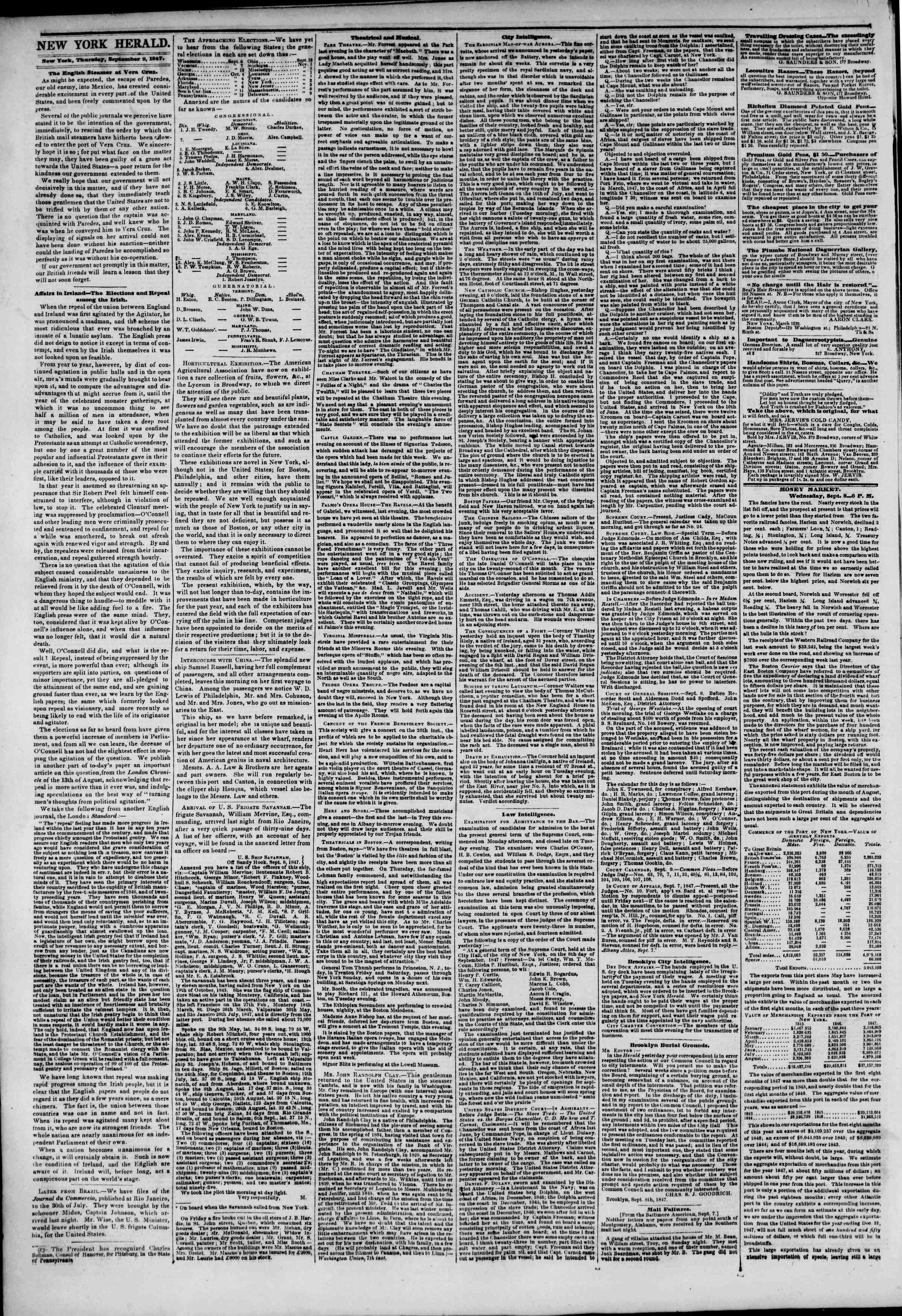 Newspaper of The New York Herald dated September 9, 1847 Page 2