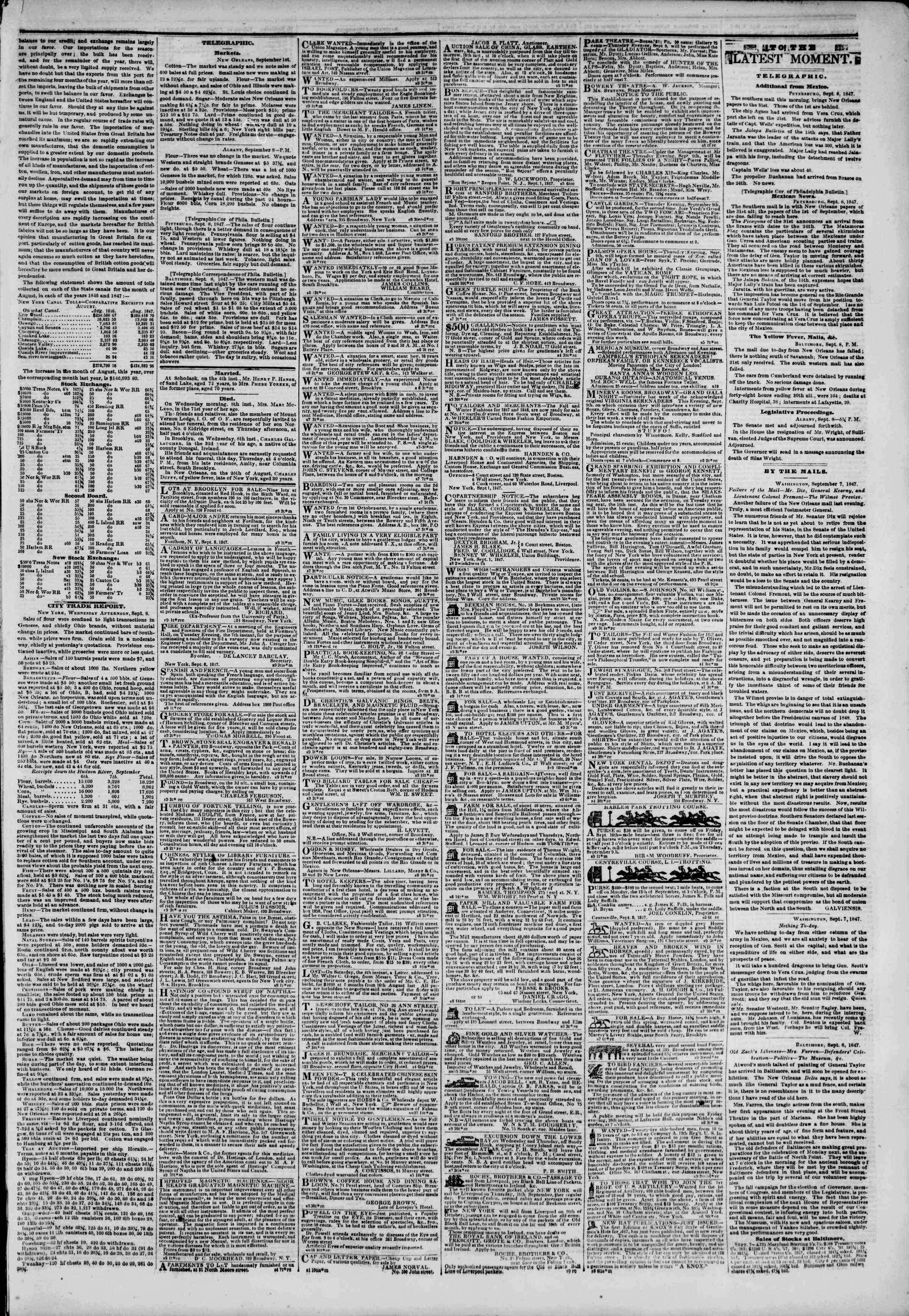 Newspaper of The New York Herald dated September 9, 1847 Page 3